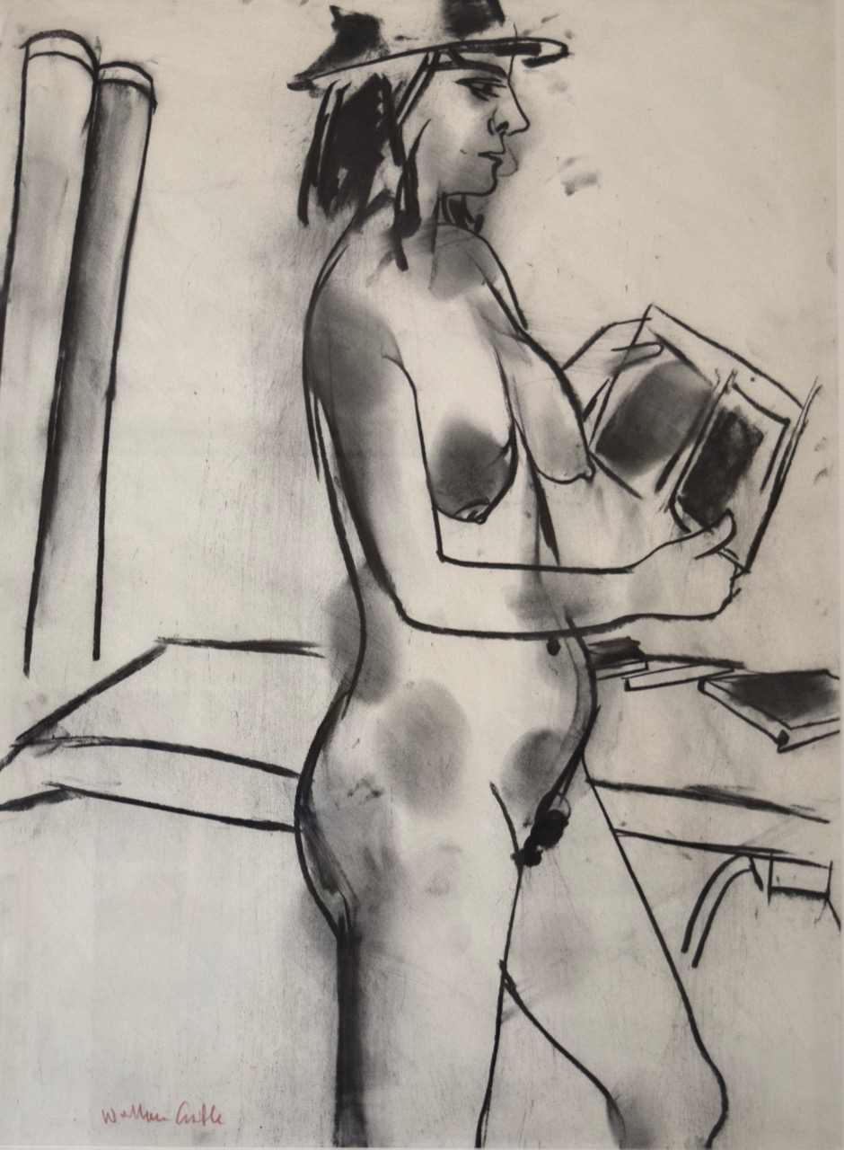 Book in hand , charcoal on paper, 1999