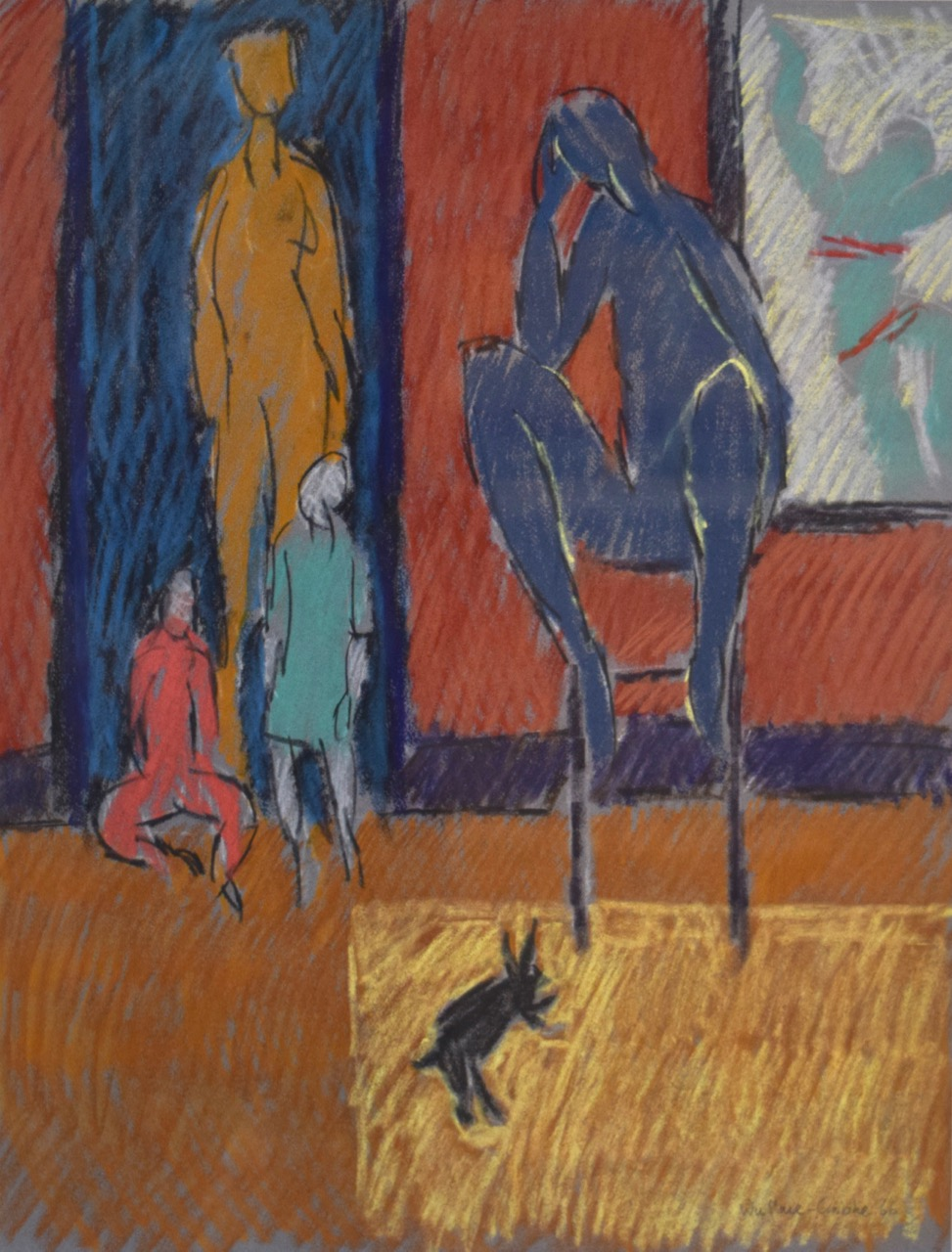 The death of JoJo Hoppity Bunny , pastel on paper, 1966