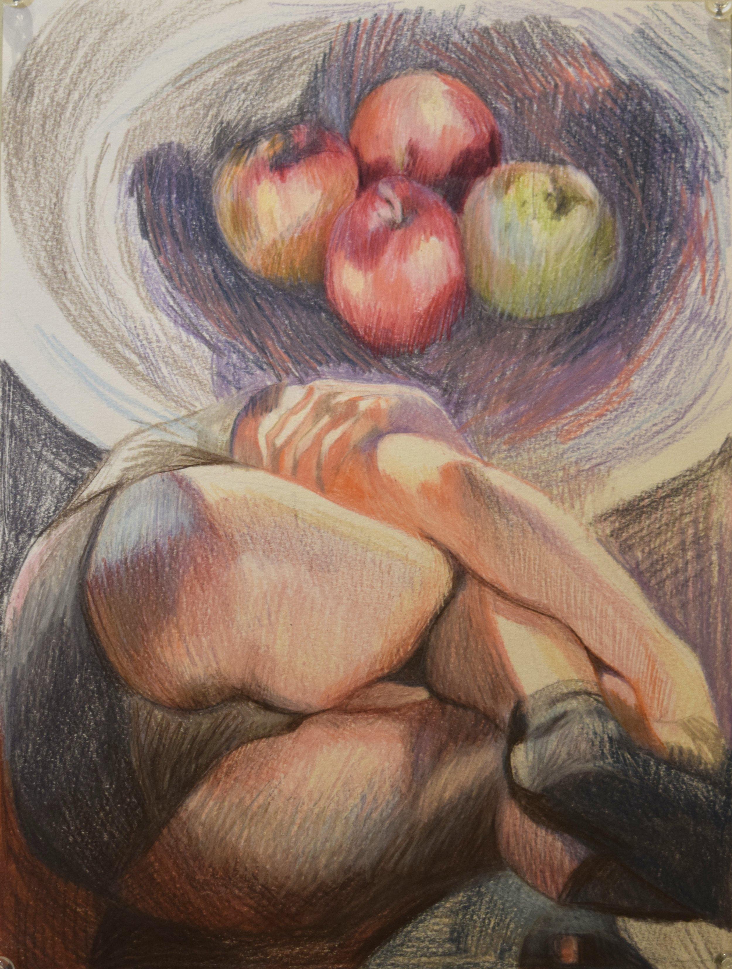 Apples (still life) , Jay Davies, coloured pencil, 2018