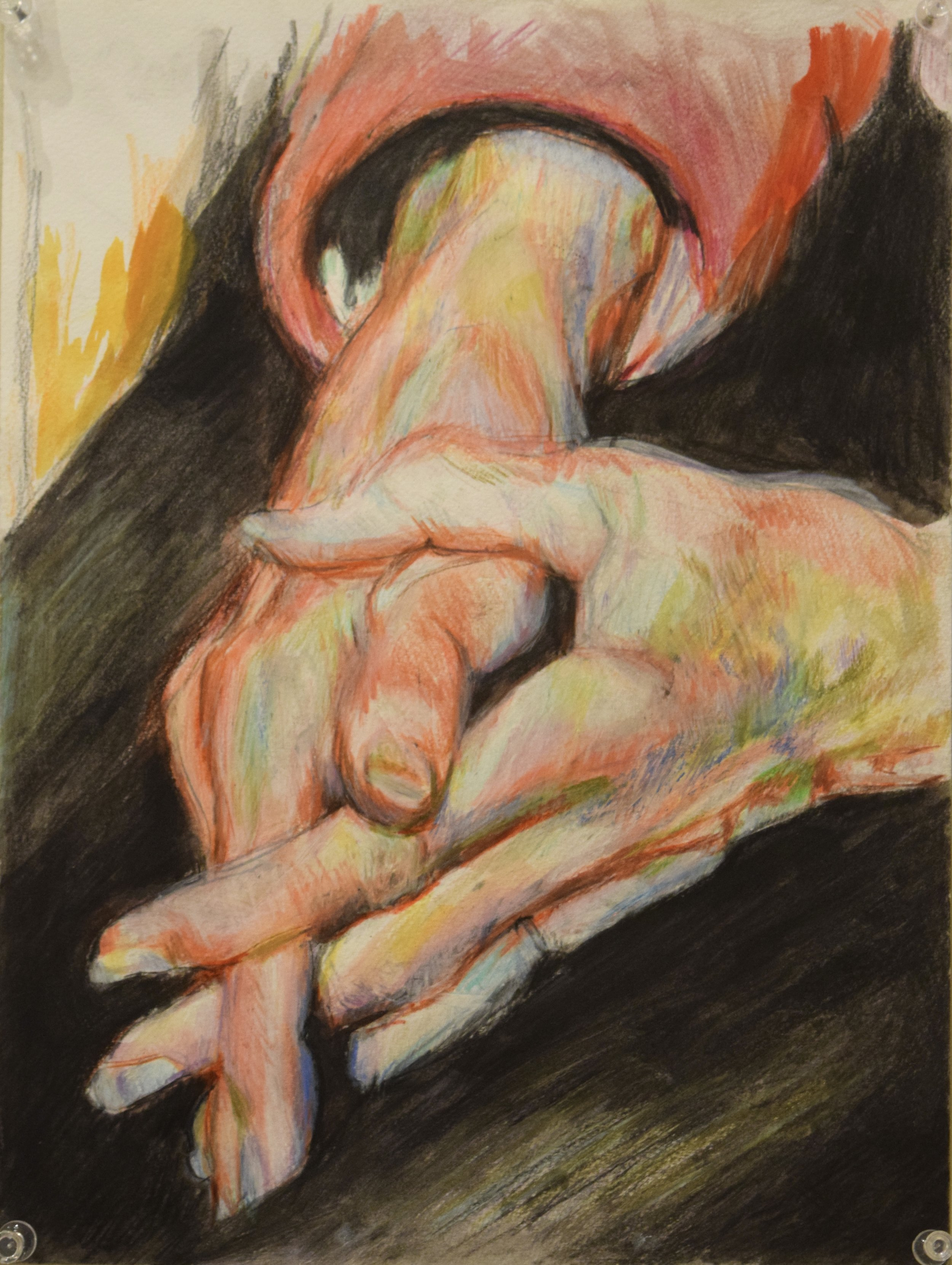 Kathy's hands , Jay Davies, water colour and coloured pencil, 2016