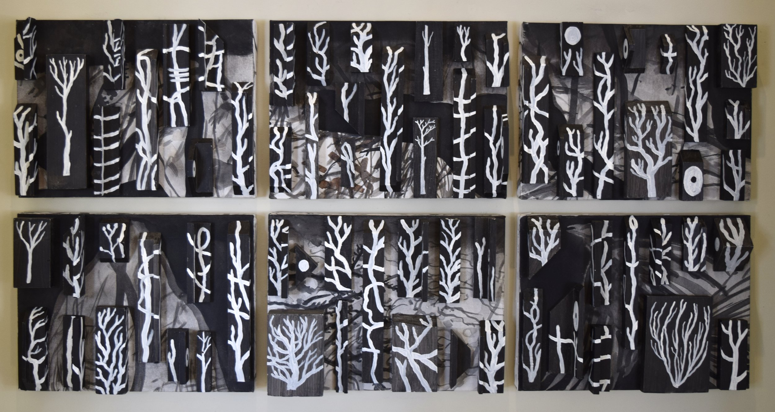 Dead trees , Andrew Powell, acrylic paint, timber on panels, 2015-2018