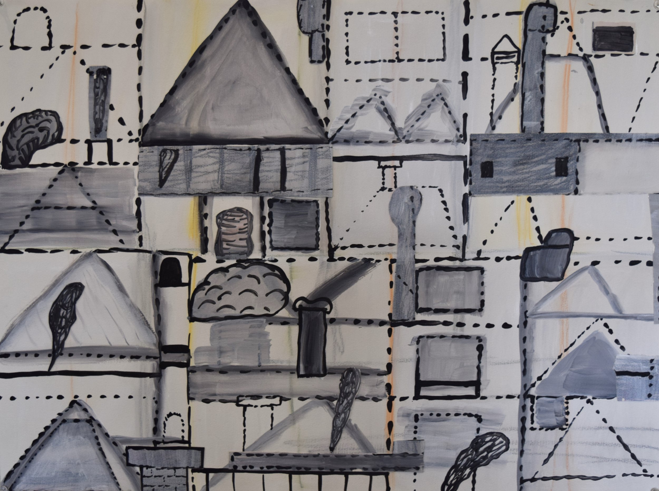 Roof tops , Andrew Powell, paper collage, acrylic paint on paper, 2013-2014