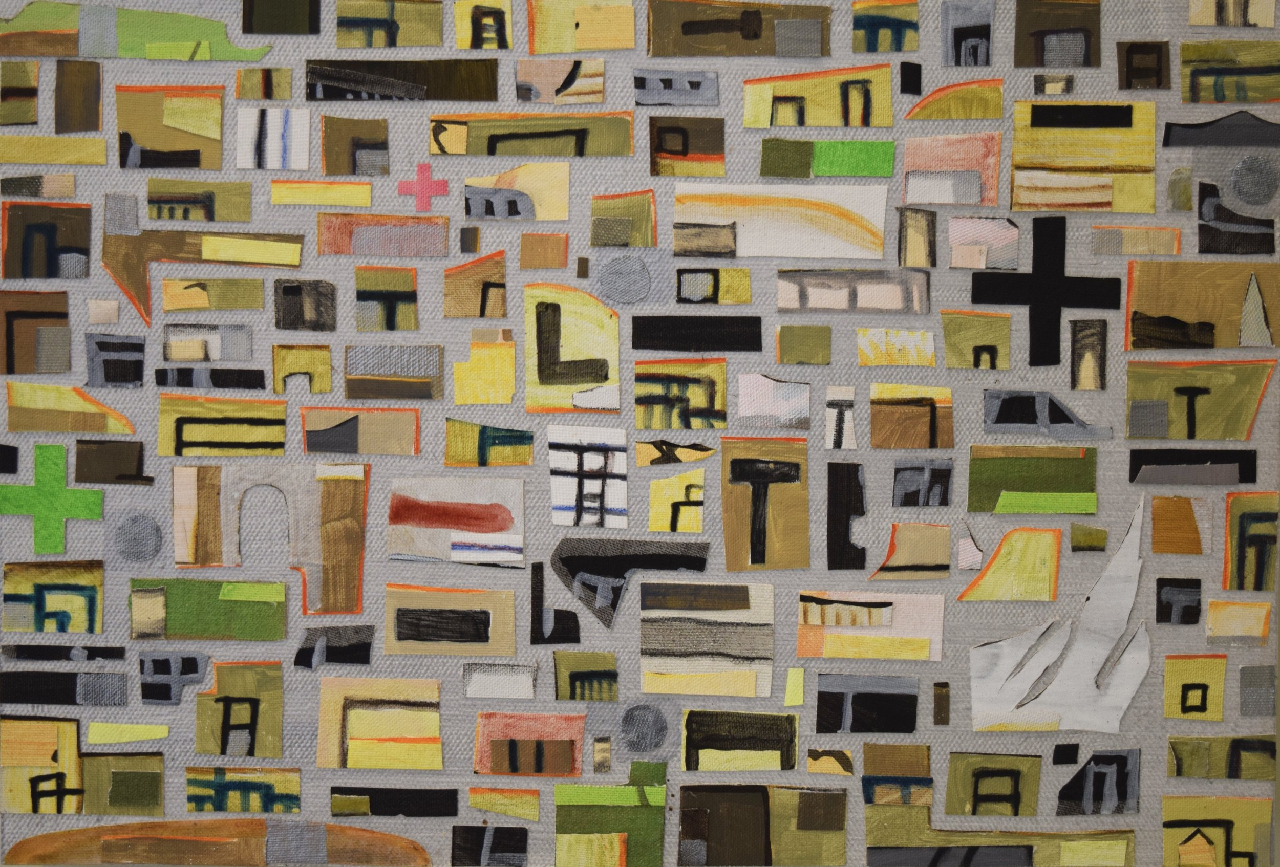 City fragments , Andrew Powell, acrylic paint, canvas collage on panel, 2015-2018