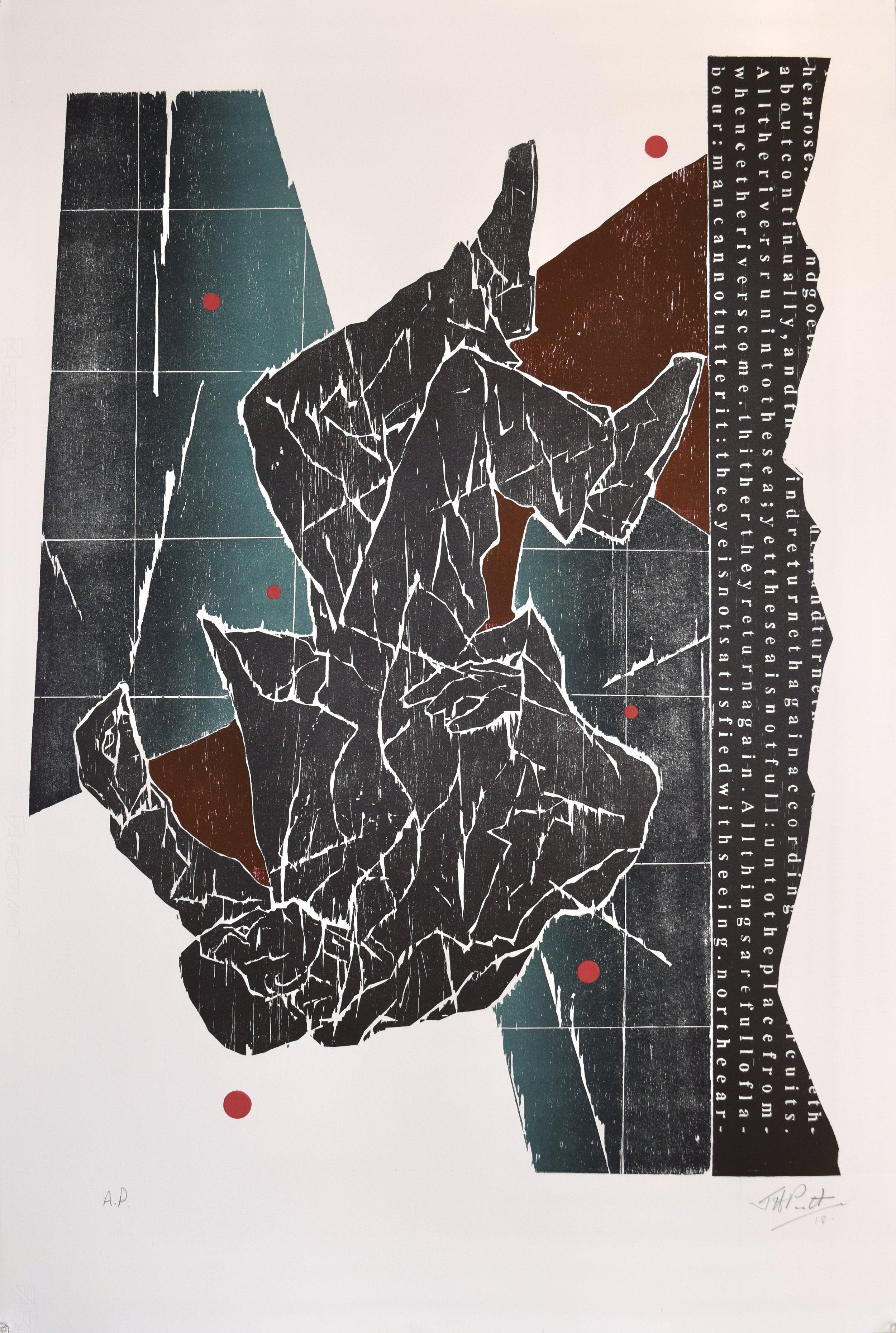 Untitled , John Pratt, woodcut/collage, 2018