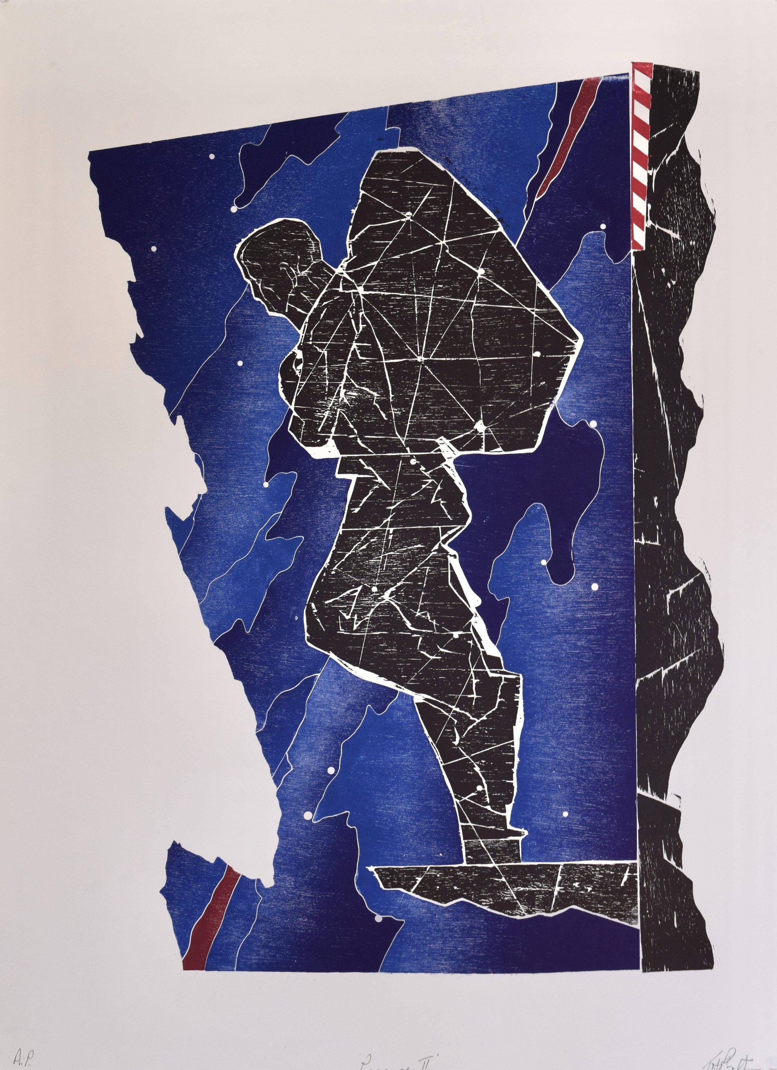 Passage II , John Pratt, woodcut/collage, 2018