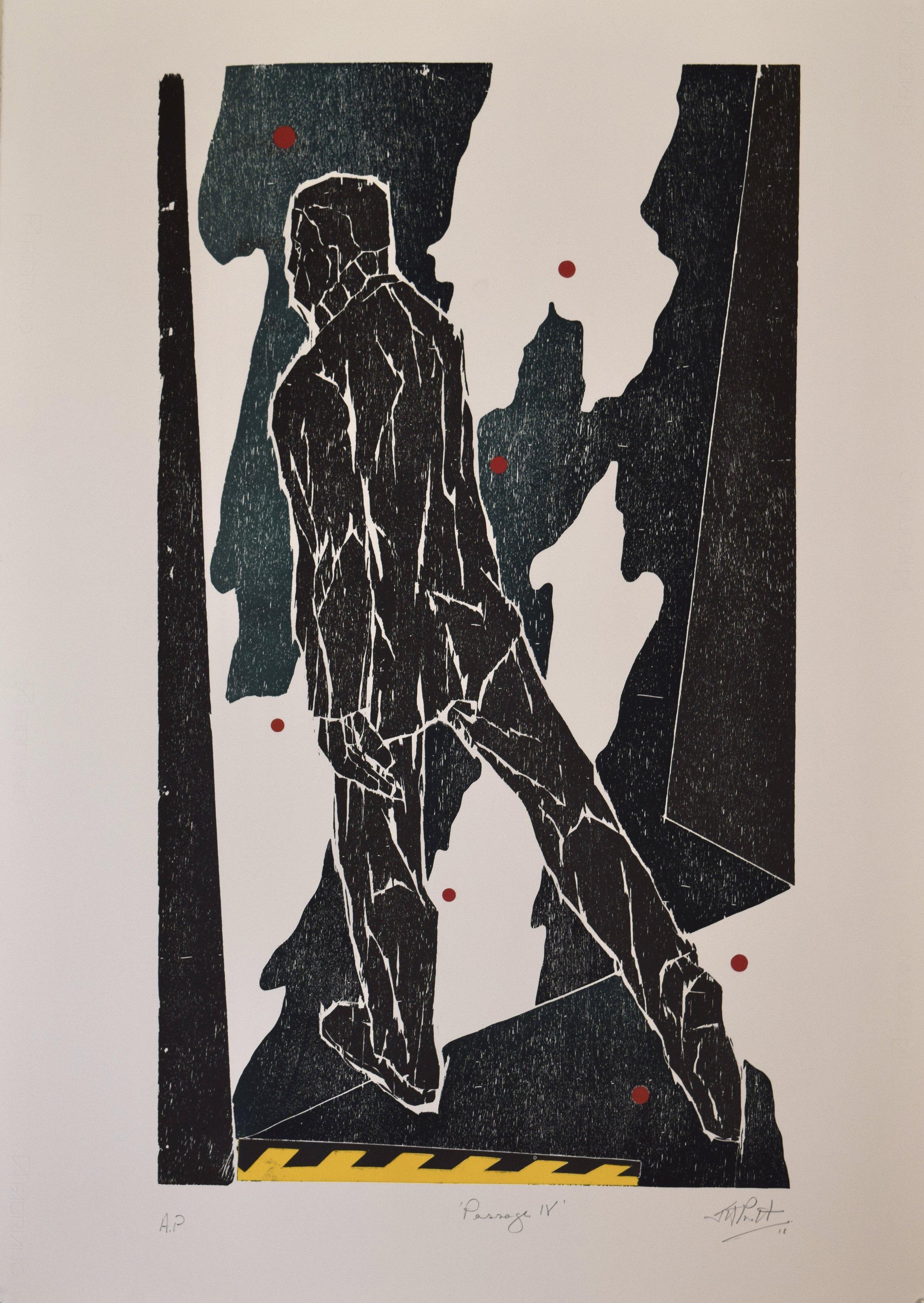 Passage IV , John Pratt, woodcut/collage, 2018