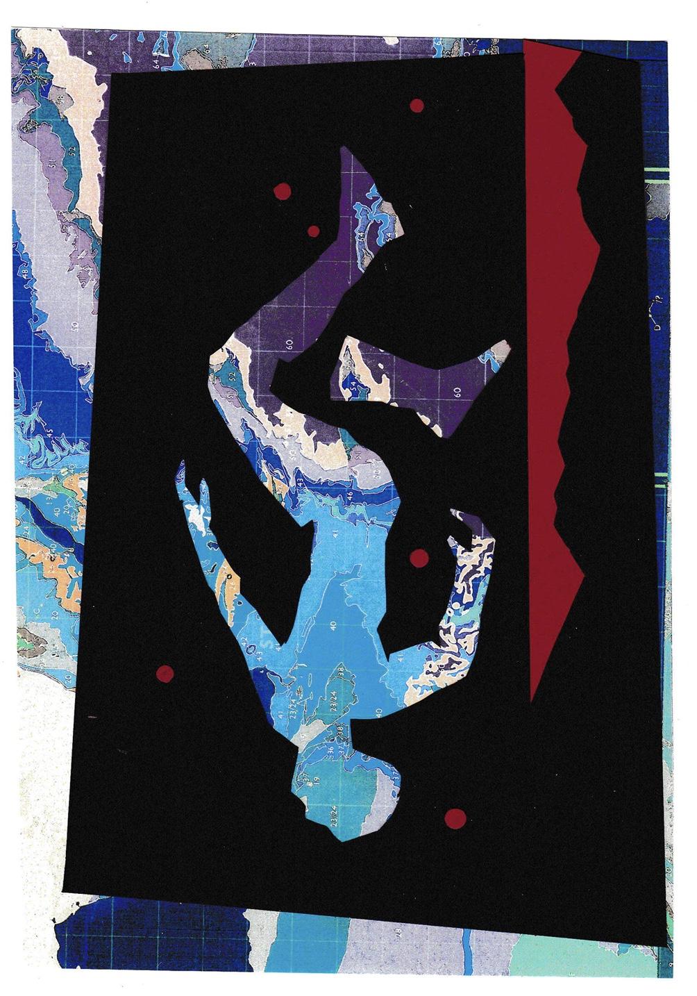 Tipping point I , John Pratt, woodcut/collage, 2018