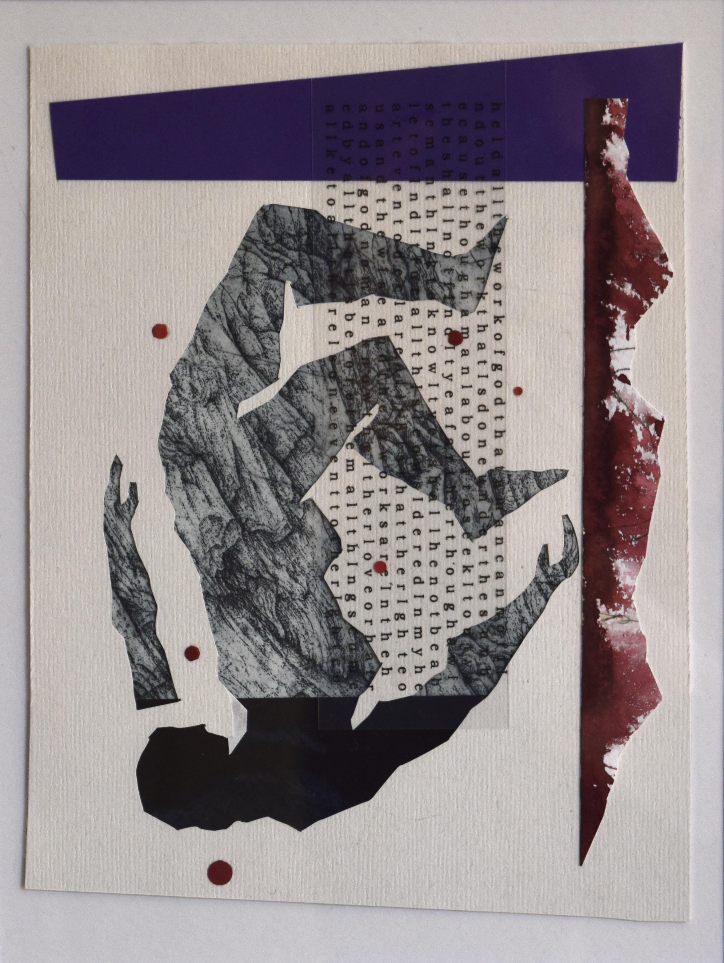 Tipping point II , John Pratt, woodcut/collage, 2018
