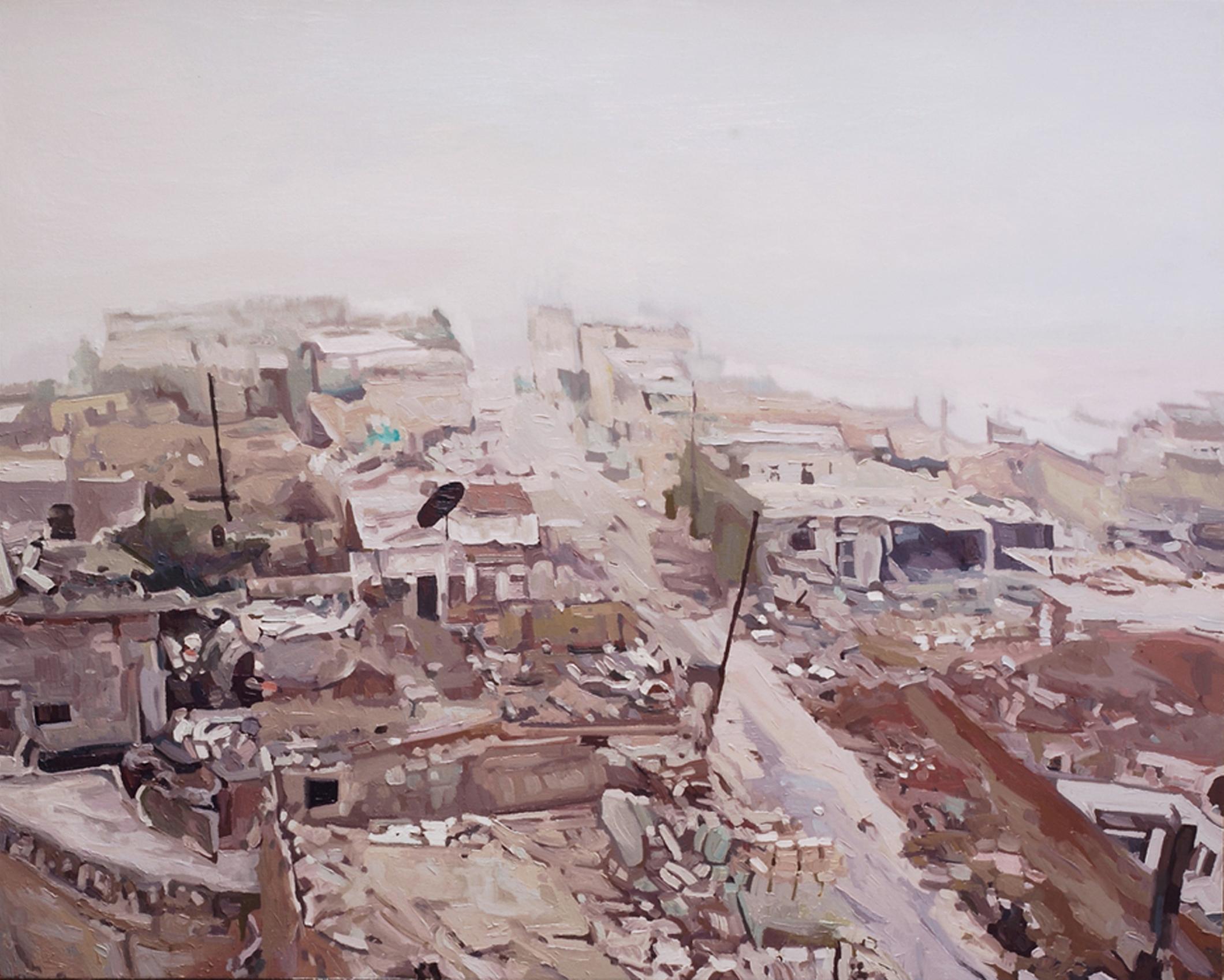 East Aleppo  (study), Kate Stevens, oil on canvas, 2017