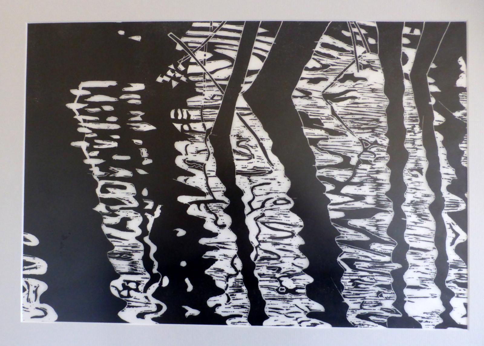 Water trees 1 , Katherine White, wood block print