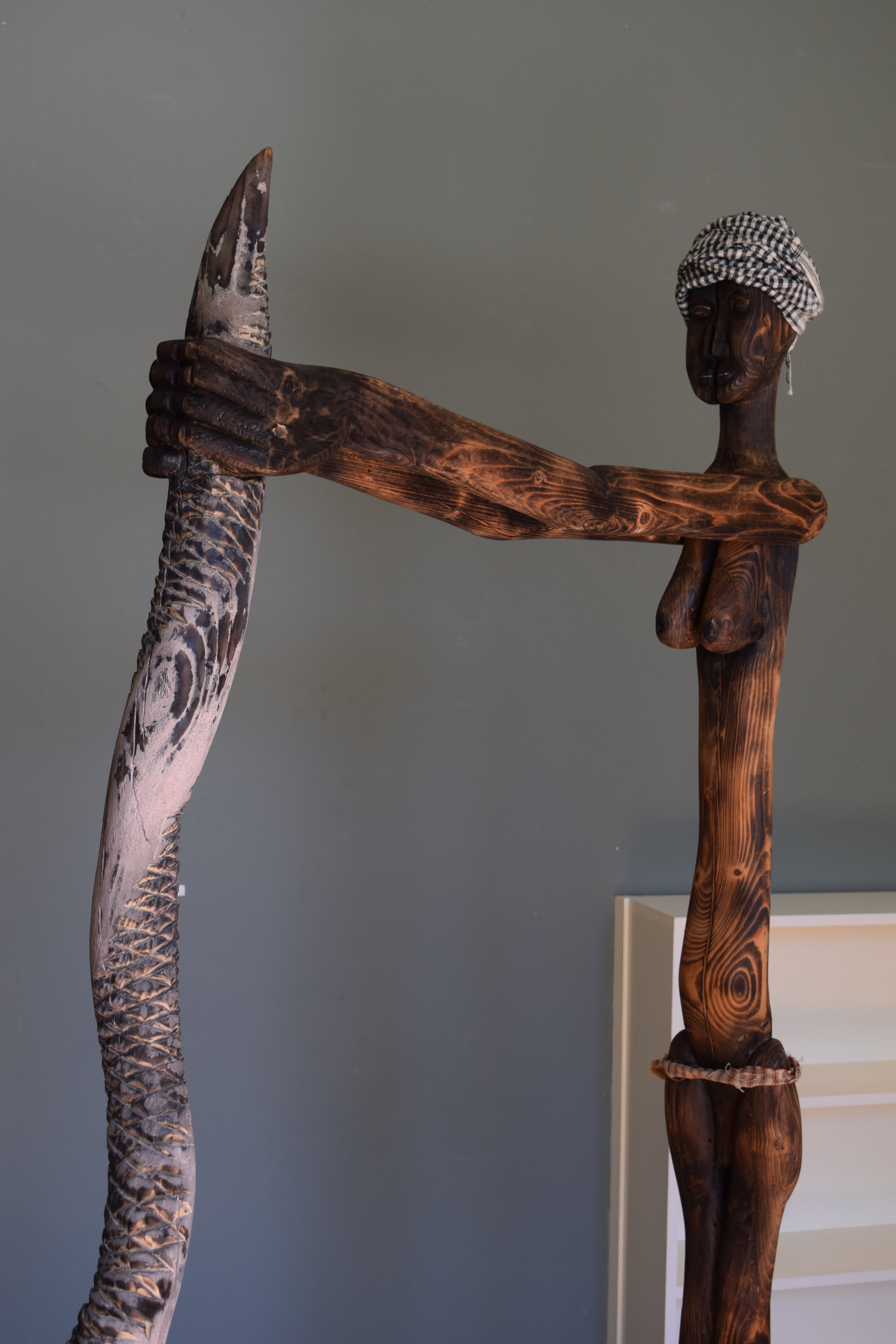 Sloughing hopelessness,  Harry Townsend,   wood, silk, cotton, steel, 2019