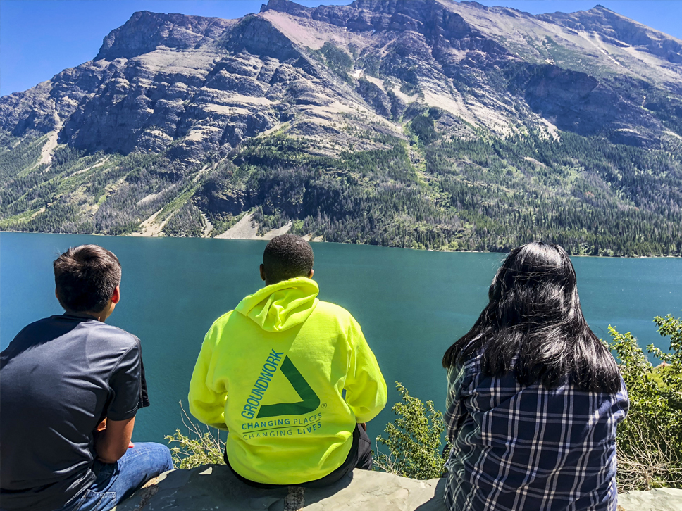 Angel (Groundwork Dallas), Jeremy (Groundwork Indy), and Nohelia (Groundwork Dallas) looking at St. Mary Lake.