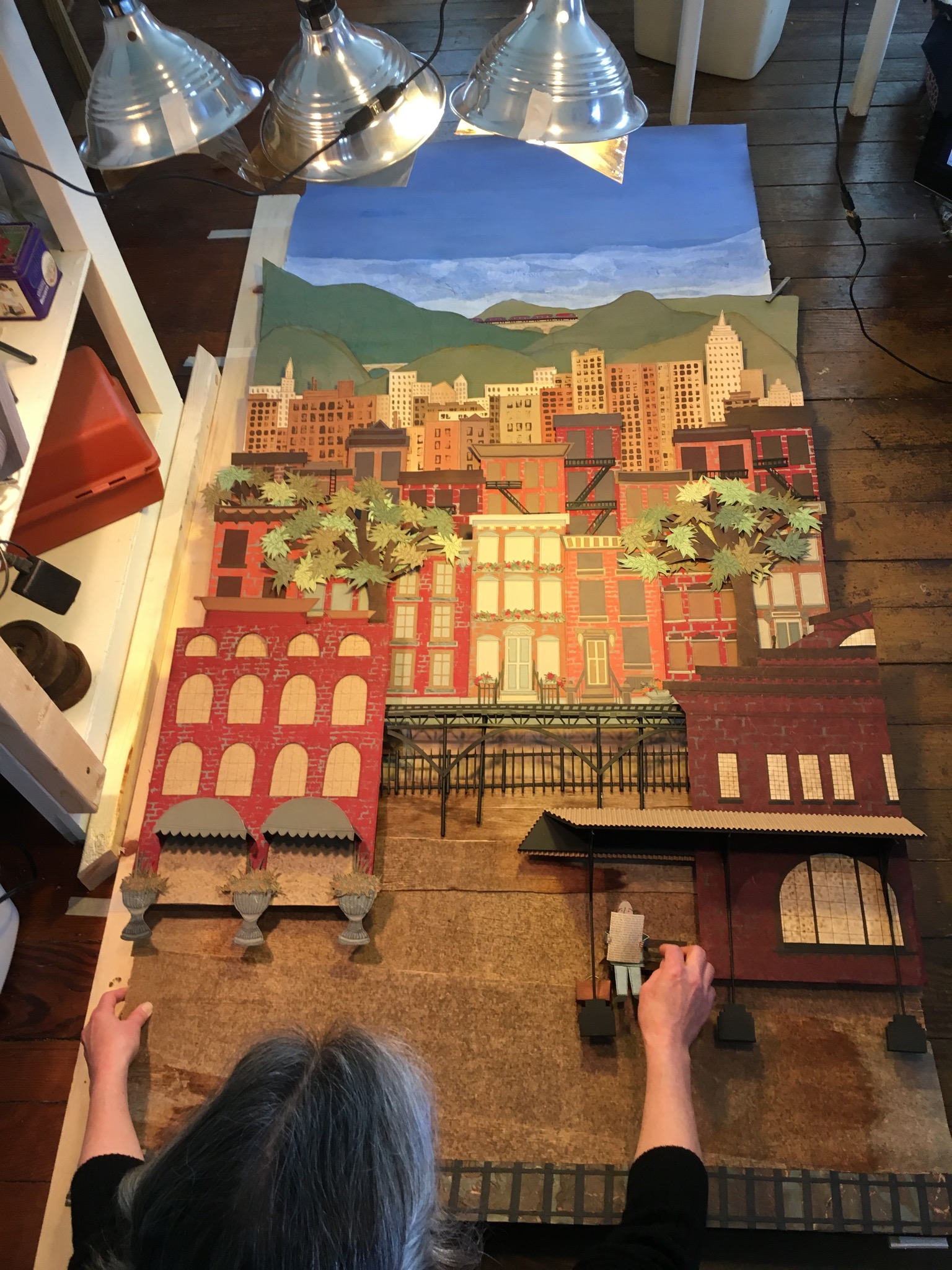 Artist Elizabeth Phelps prepares a maquette for  Trains of Thought: Animated