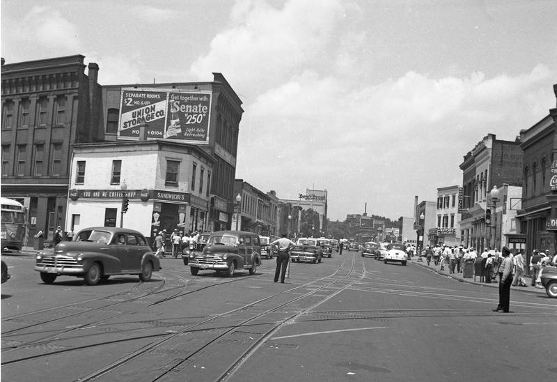 General view northwest down Georgia Avenue NW from Florida Avenue, ca. 1949