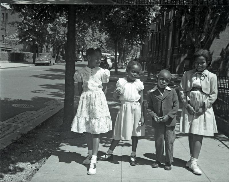 Children on sidewalk on 6th Street NE near G Street, ca. 1949
