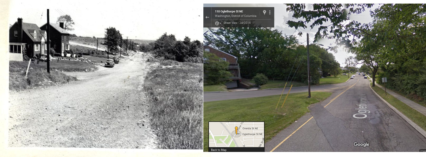 Side by side comparison of Wymer's photograph (WY 0196.03) and Google Street View, both taken at Oglethorpe Street NE looking east from New Hampshire Avenue NE.