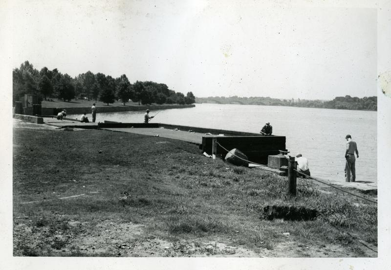 General view east down the Potomac River, from the foot of G Street NW, ca 1951