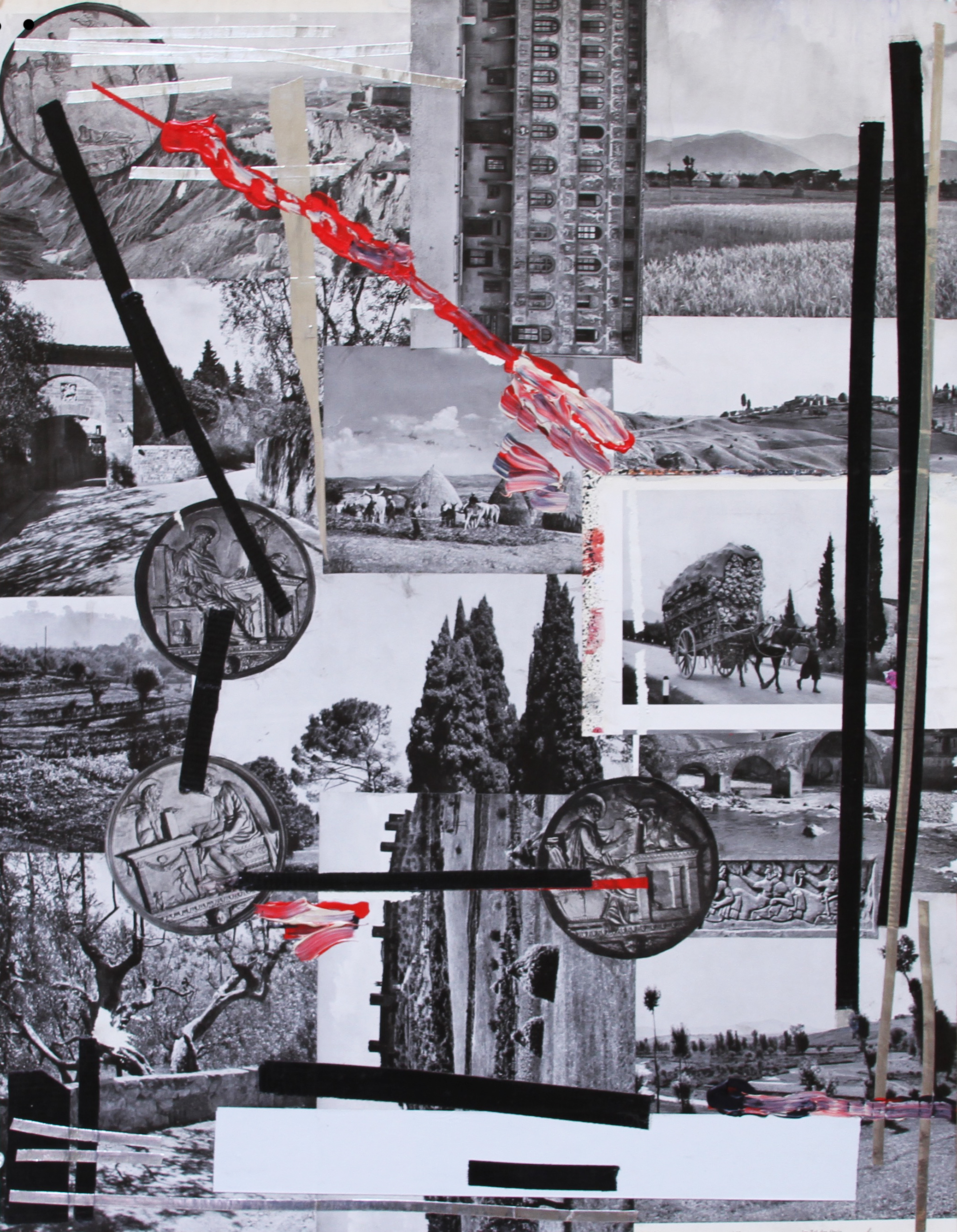 ARRANGEMENT 08 /4 COINS   2015 Acrylic, collage,aluminium and tape on paper 28 x 22 in 71 x 56 cm