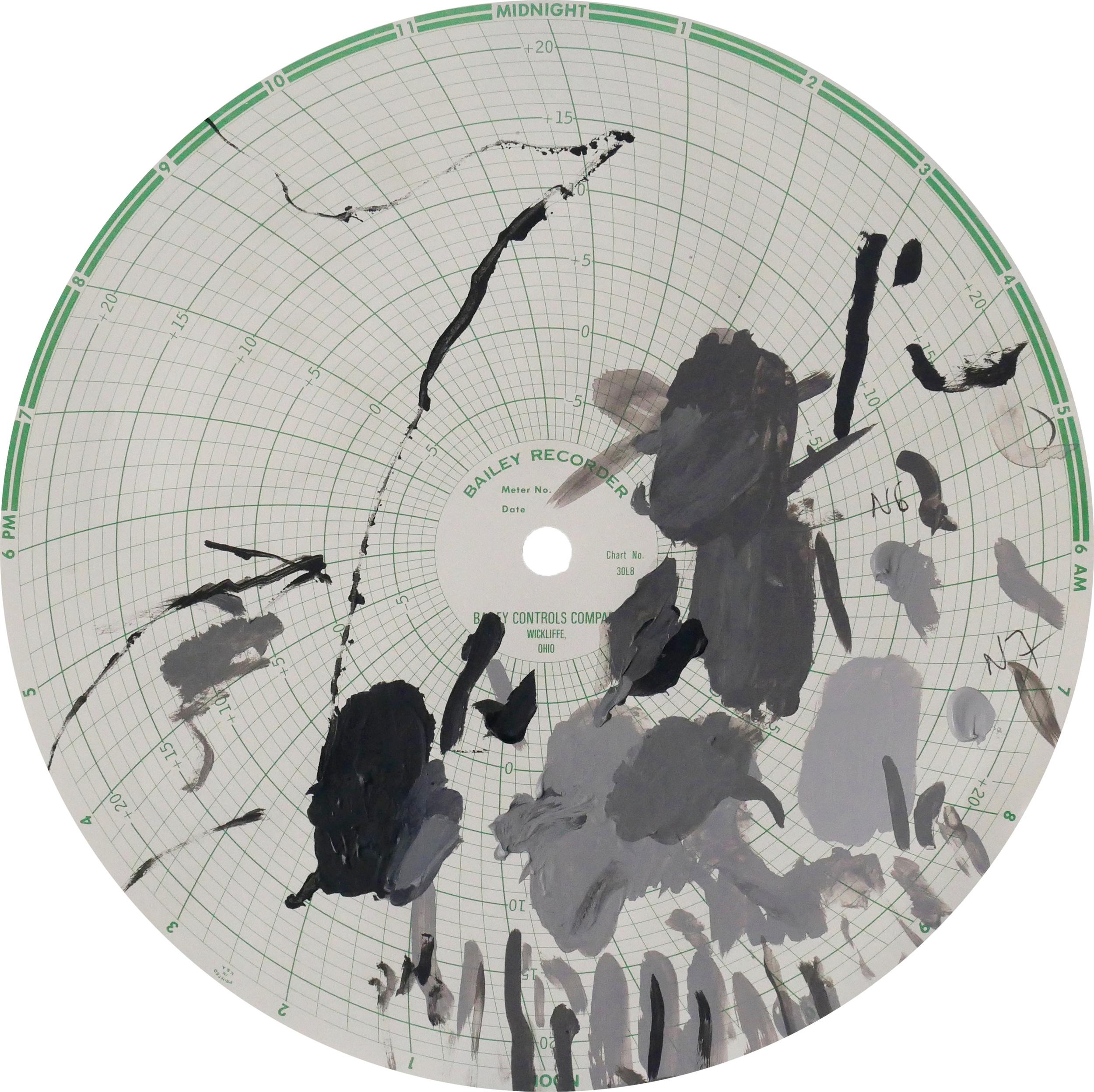 Midnight Recorder (2405)   Acrylic on paper 11.1 in diameter 28.2 cm diameter
