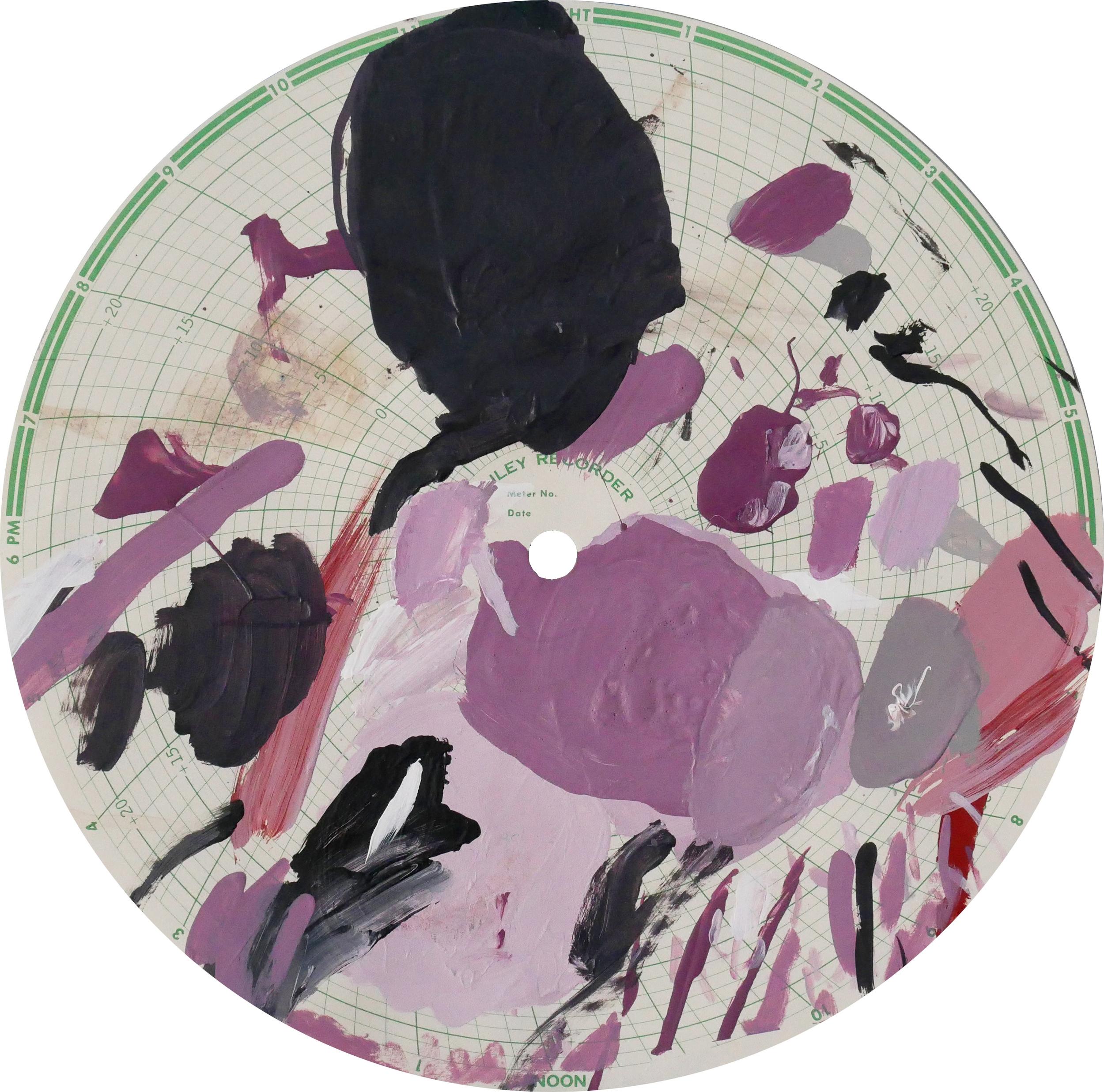 Midnight Recorder (2404)   Acrylic on paper 11.1 in diameter 28.2 cm diameter