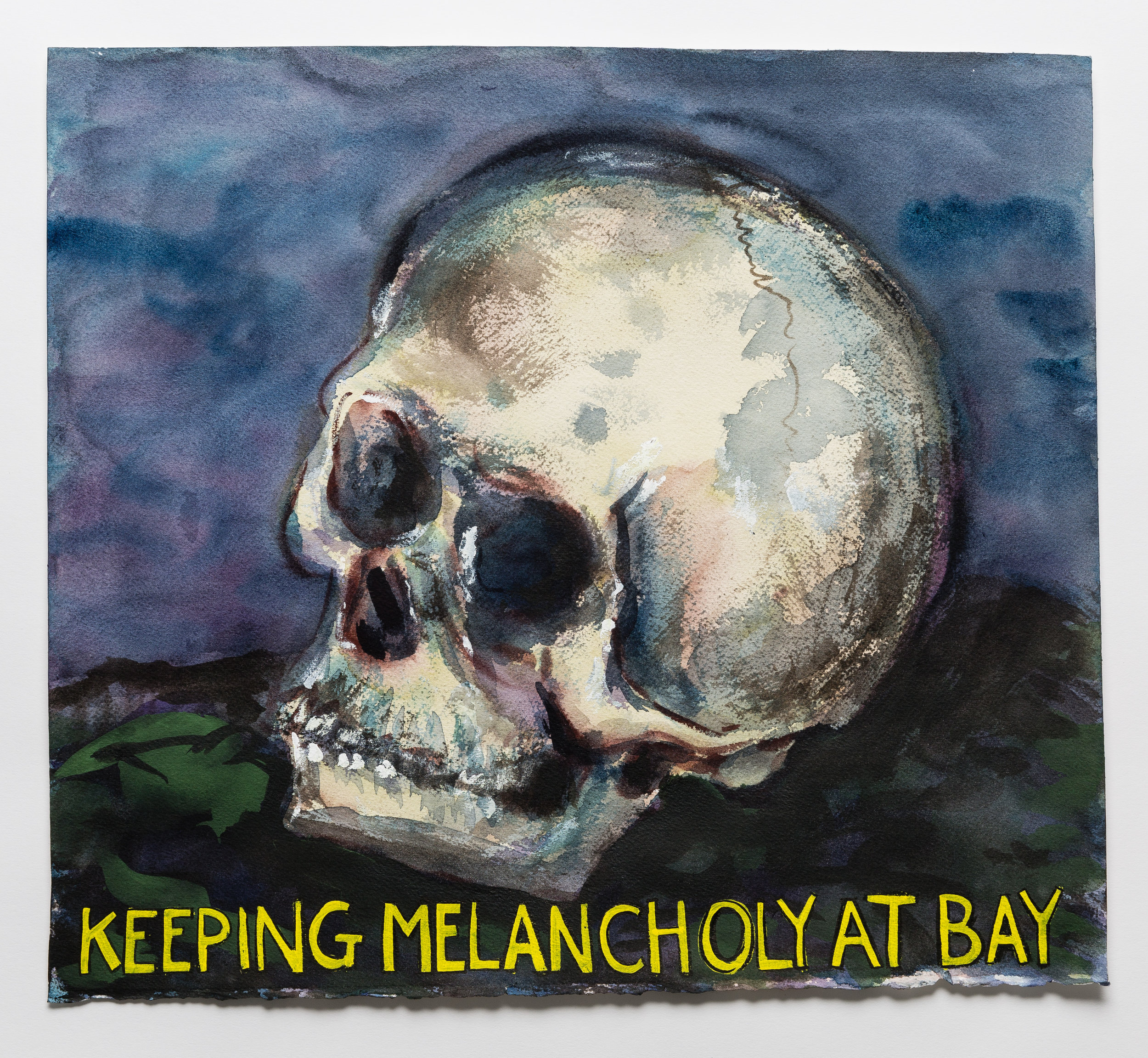 Keeping Melancholy At Bay  2015  watercolor, gouache and ink on paper,  14x16""