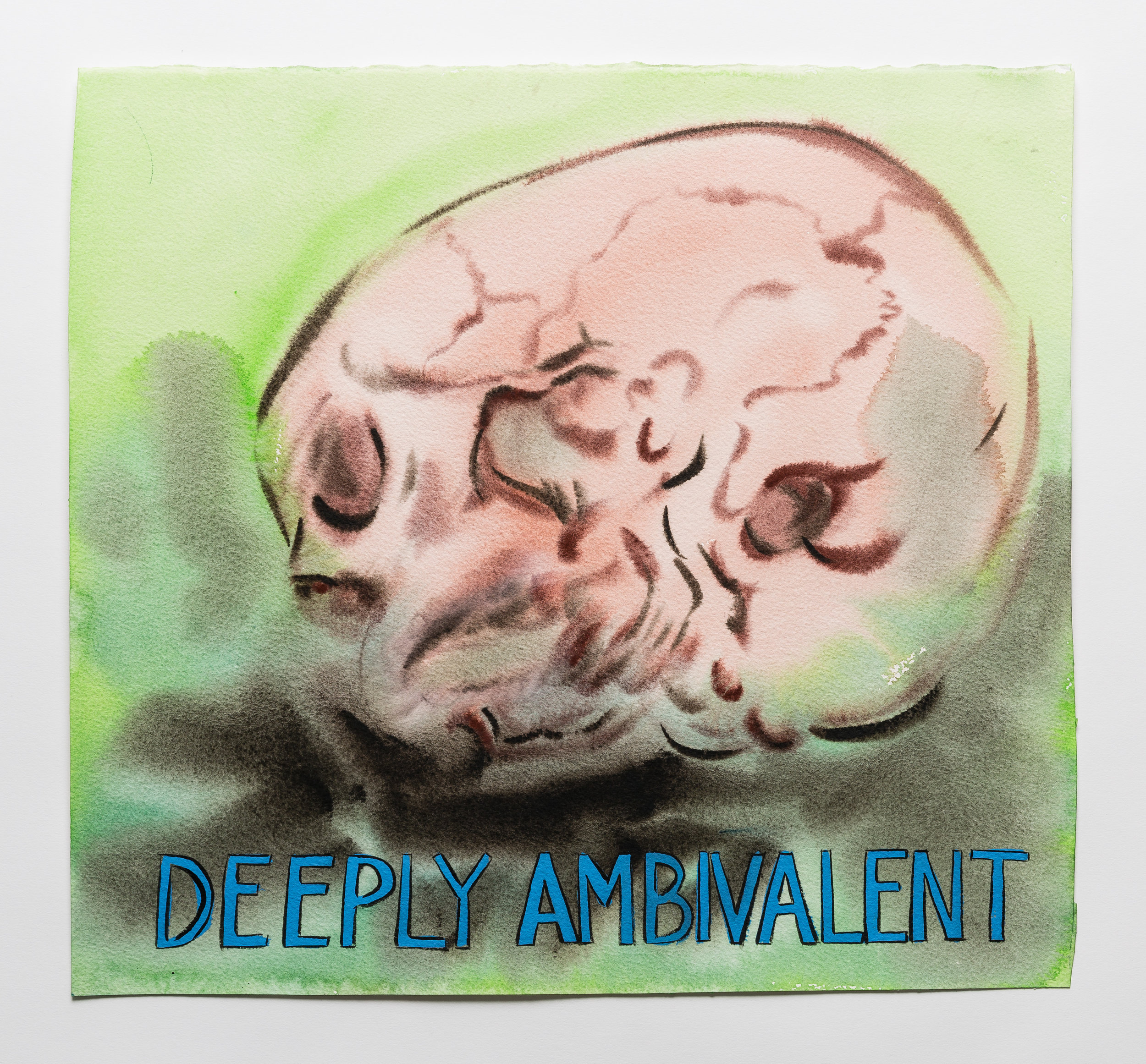 Deeply Ambivalent 2015 watercolor, gouache and ink on paper  15 x 16""