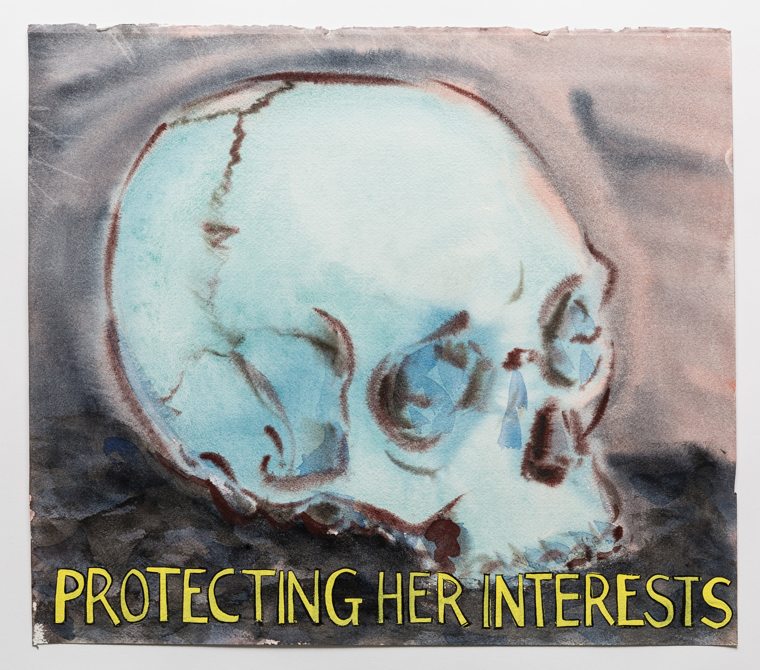 Protecting Her Interests    2015 Watercolor, gouache and ink on paper 15x17""