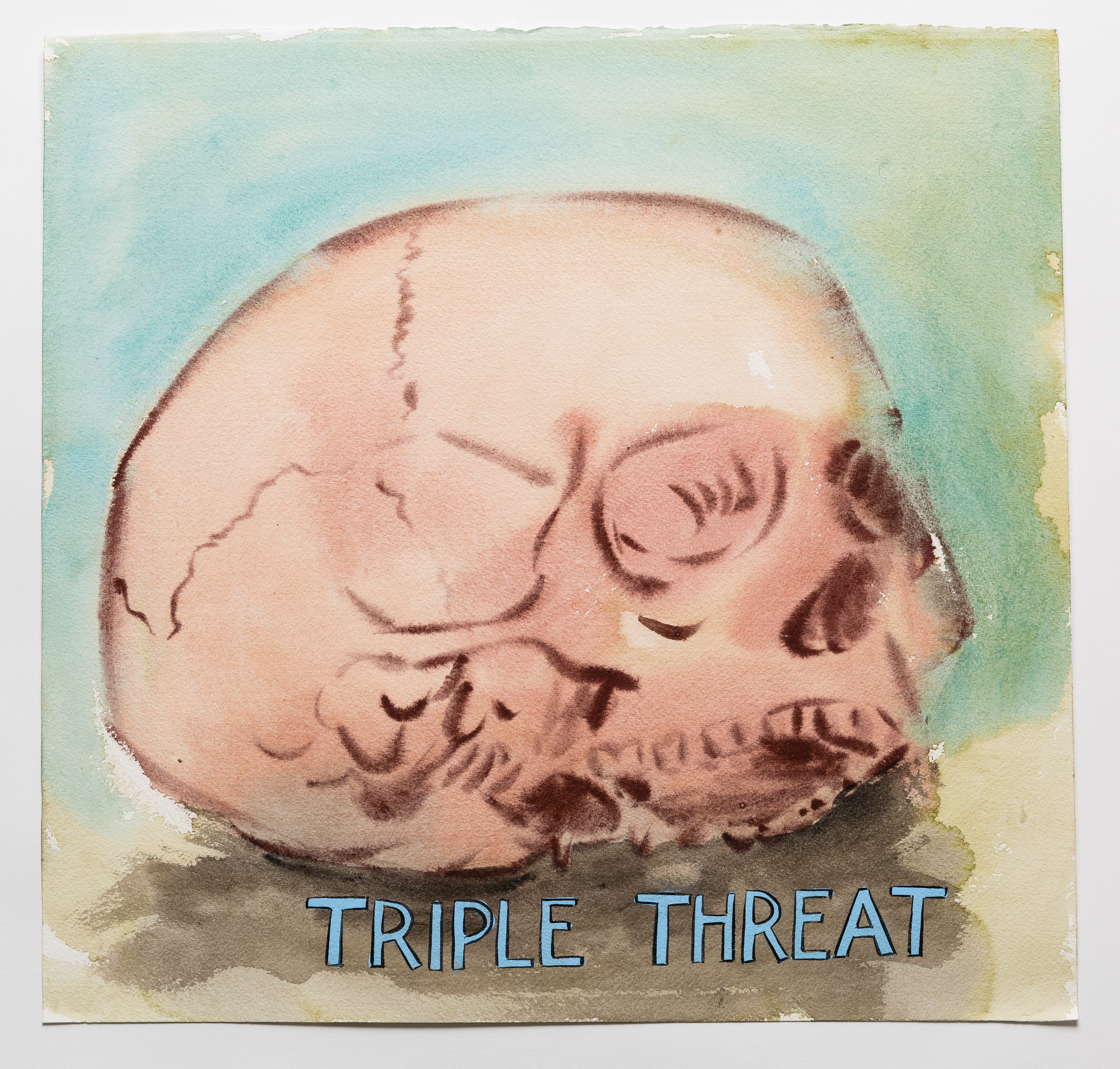Triple Threat    2015 Watercolor, gouache and ink on paper 15x16