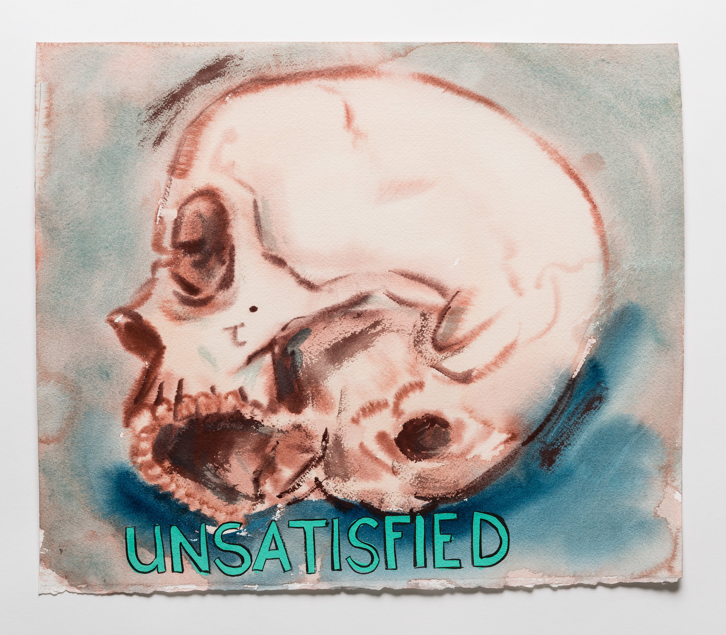 Unsatisfied   2015 watercolor, gouache and ink on paper 14x12""