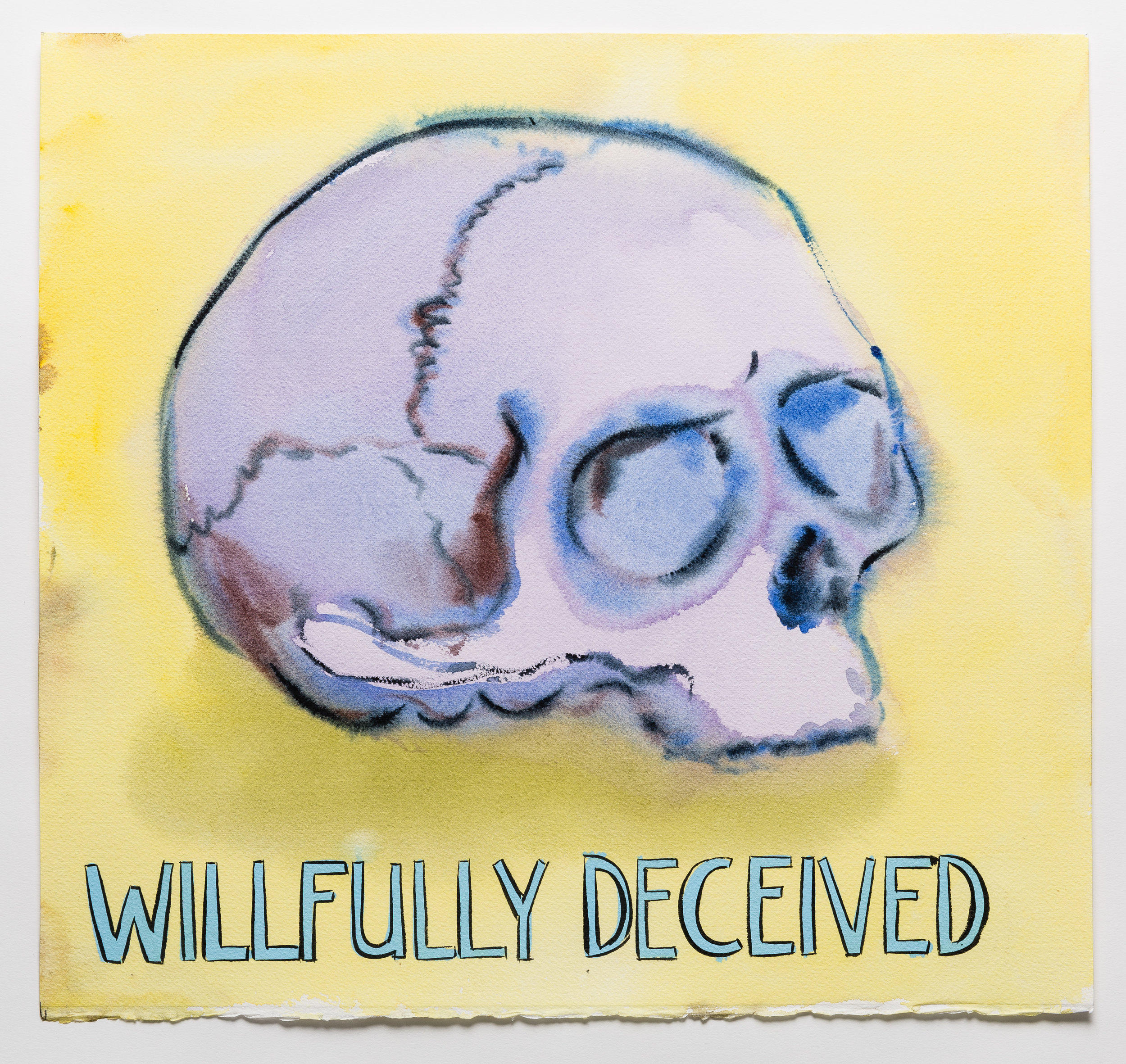 Willfully Deceived   2015 watercolor, gouache and ink on paper 15x16""