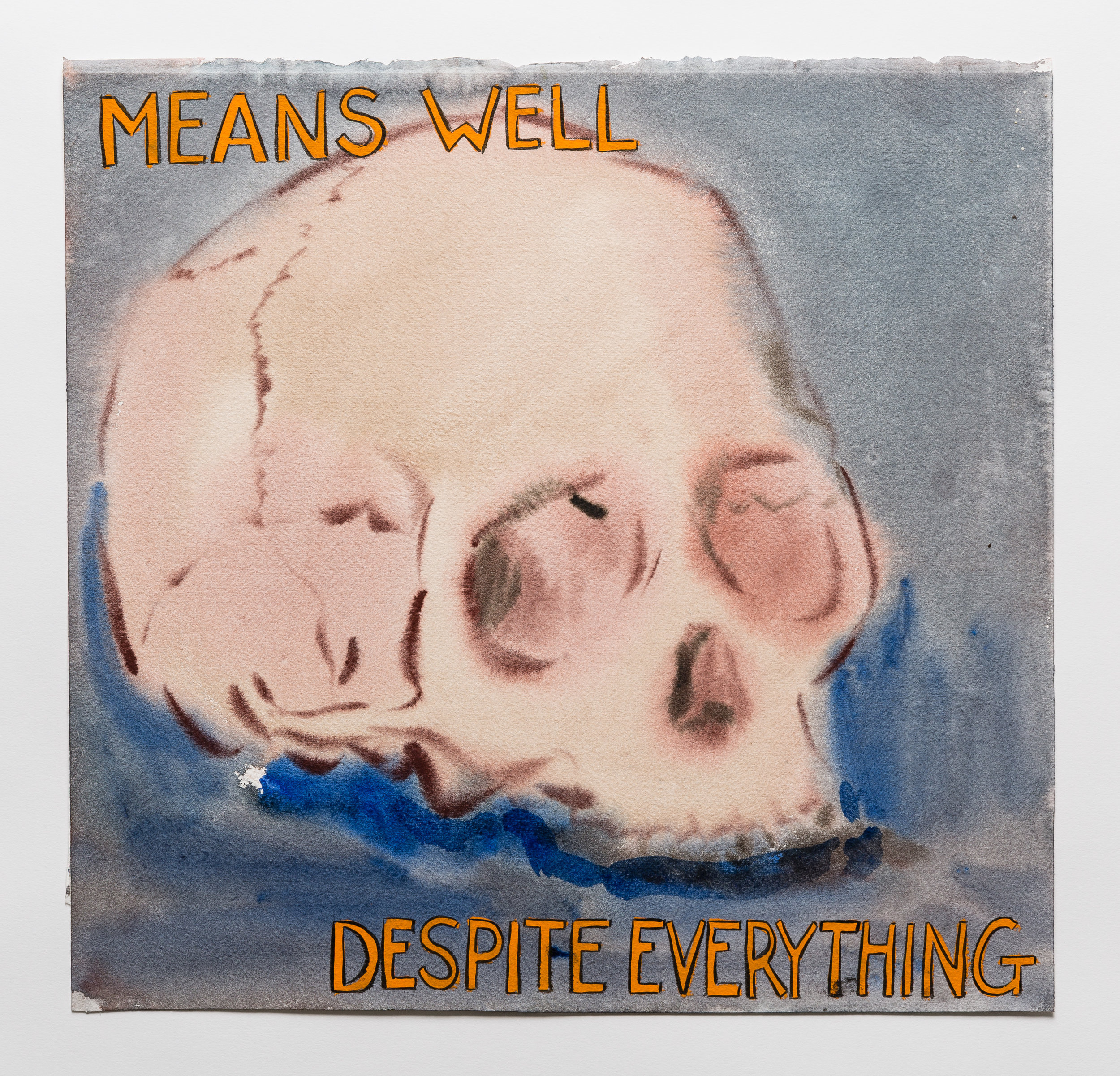 Means Well Despite Everything  2015 watercolor, gouache and ink on paper 13x13""