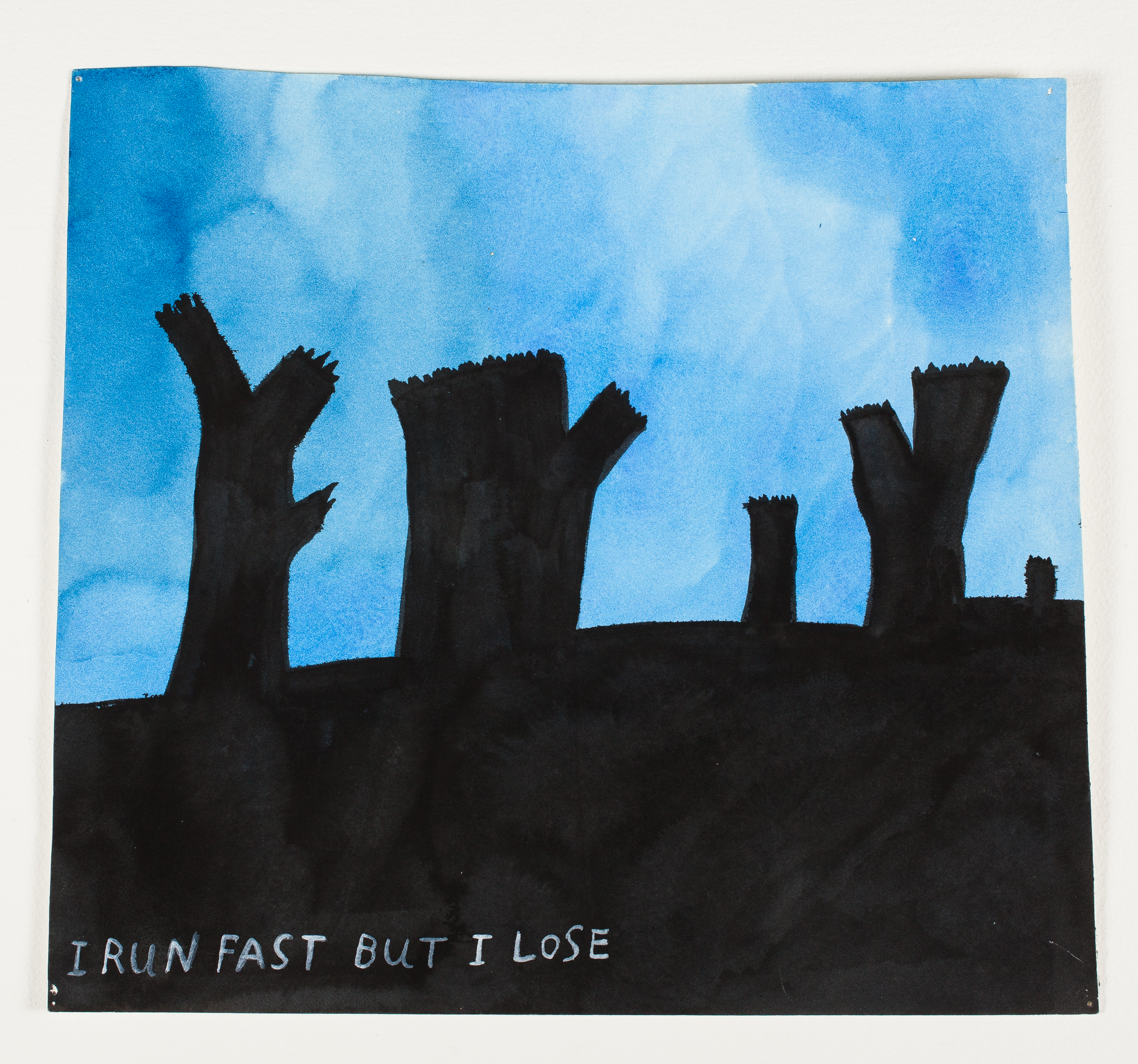 "I Run Fast But I Lose    1997 Watercolor + Ink 14 1/4"" x 13"""