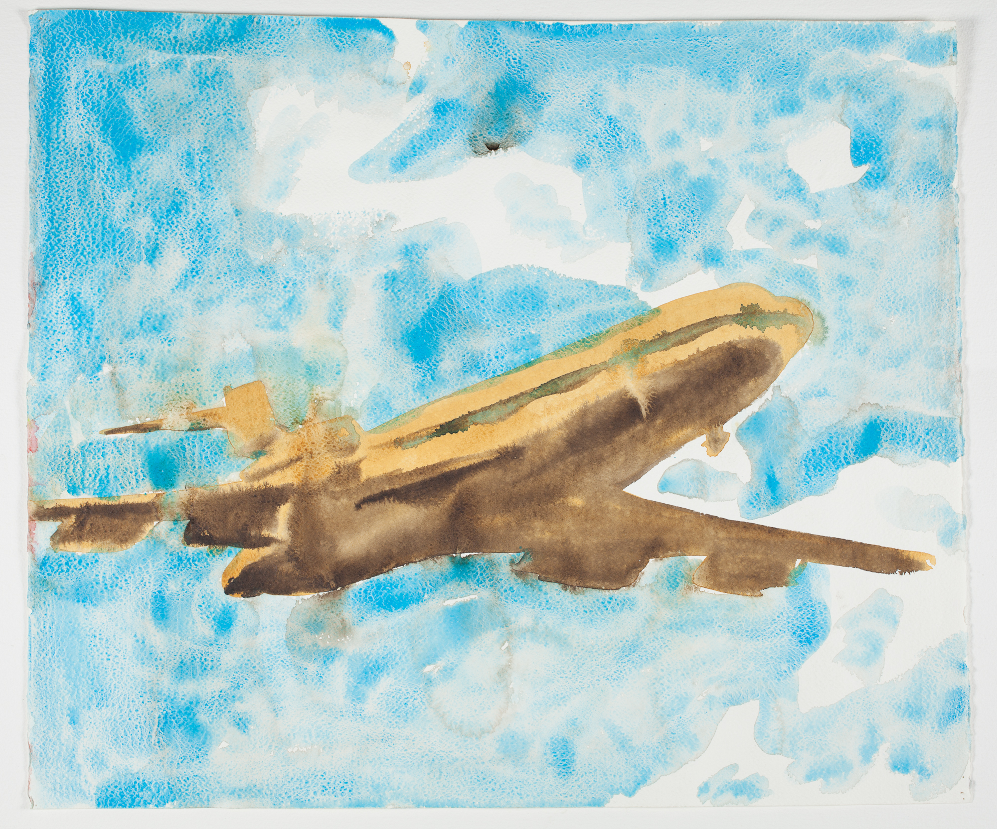 "Large Plane    2000 Watercolor + Ink 22"" x 18"""