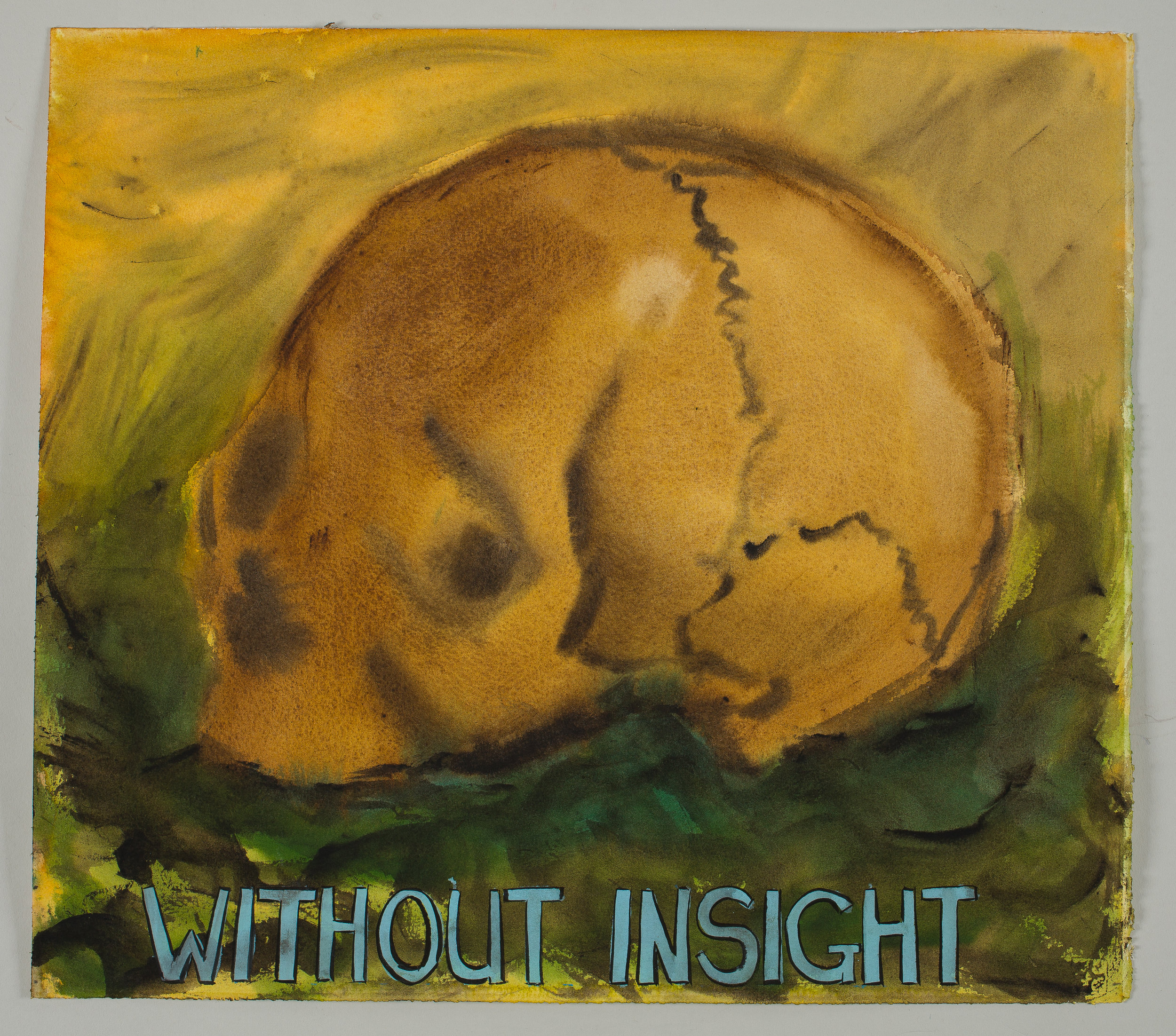 Without Insight  2016 watercolor, gouache and ink on paper 15x16""