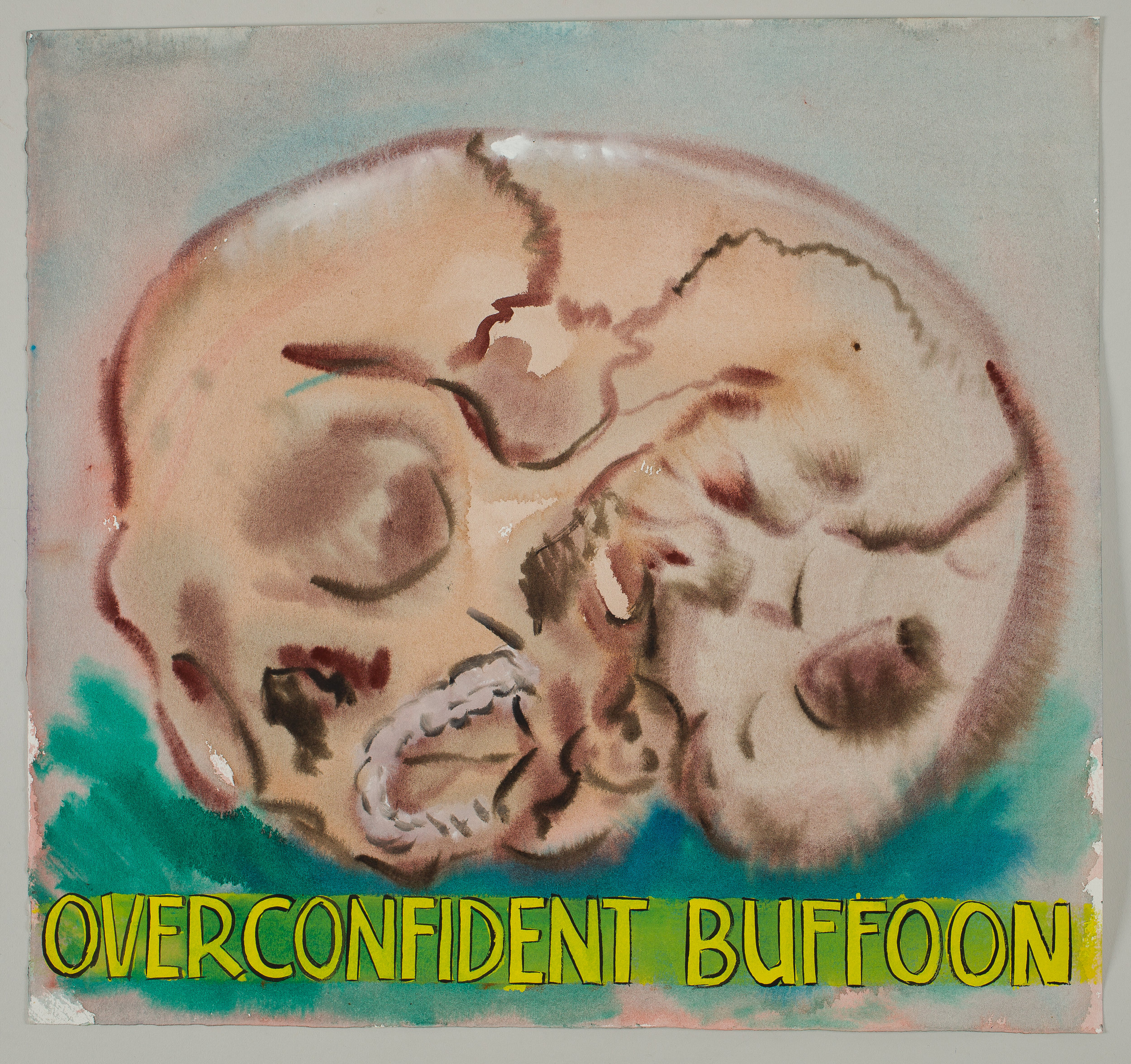 Overconfident Buffoon  2016 watercolor, gouache and ink on paper 15x16""