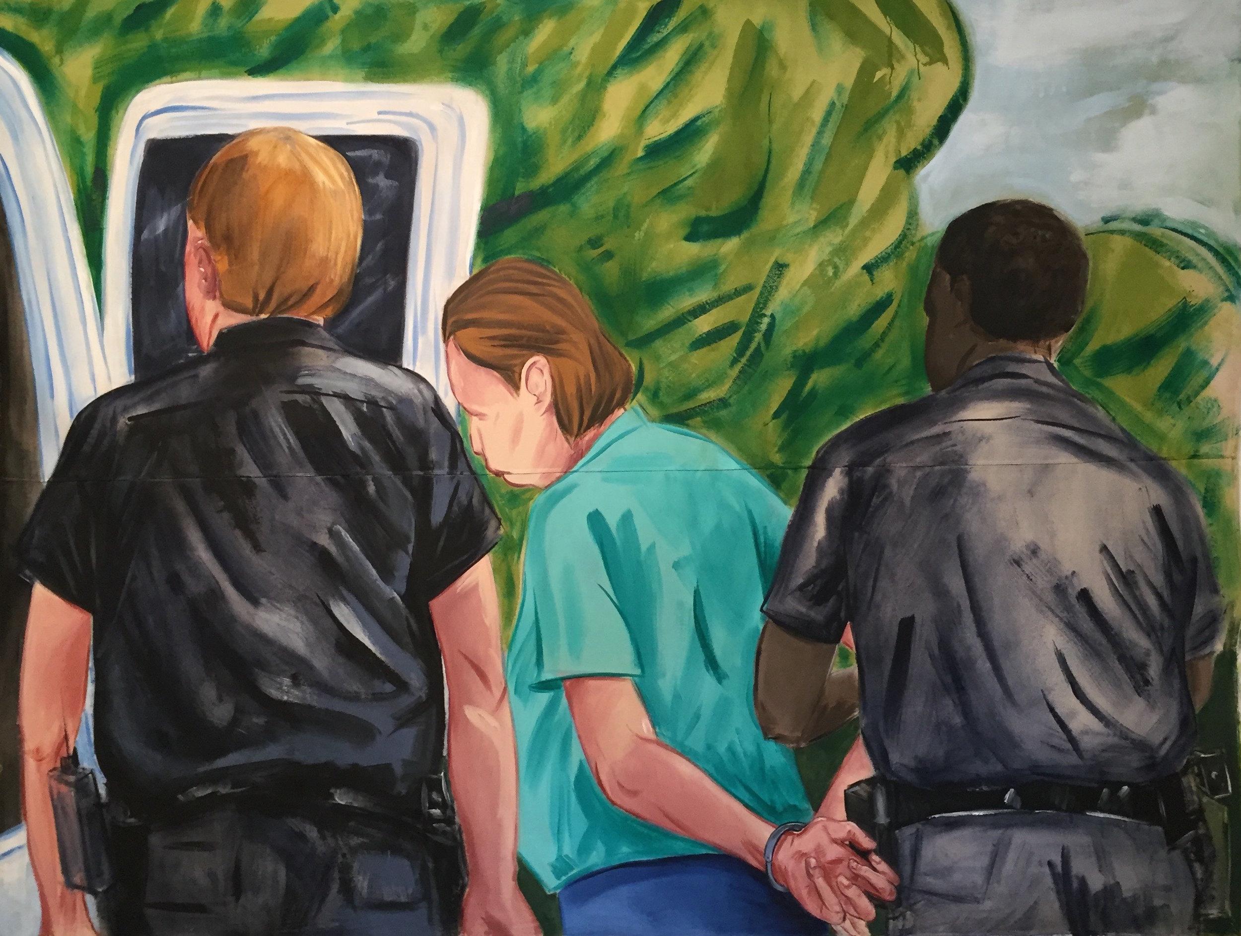 Arrested!  Acrylic on Canvas Tarp, 9'X12' 2017
