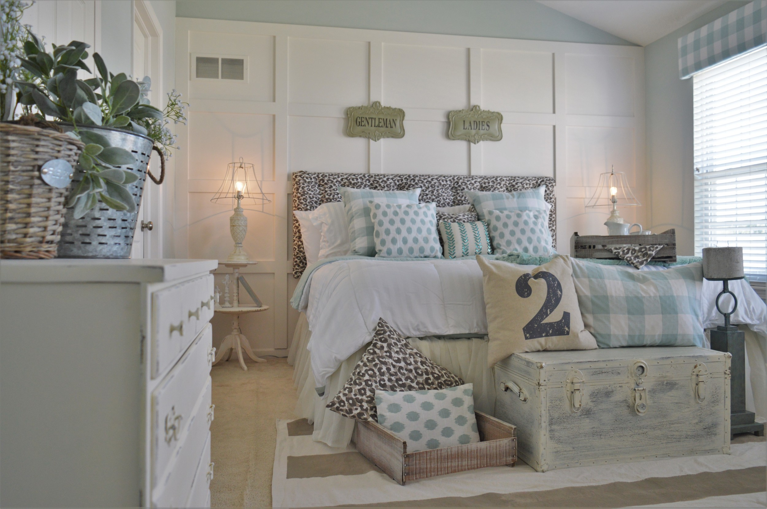 bedroom design white, seafoam, leopard neutral