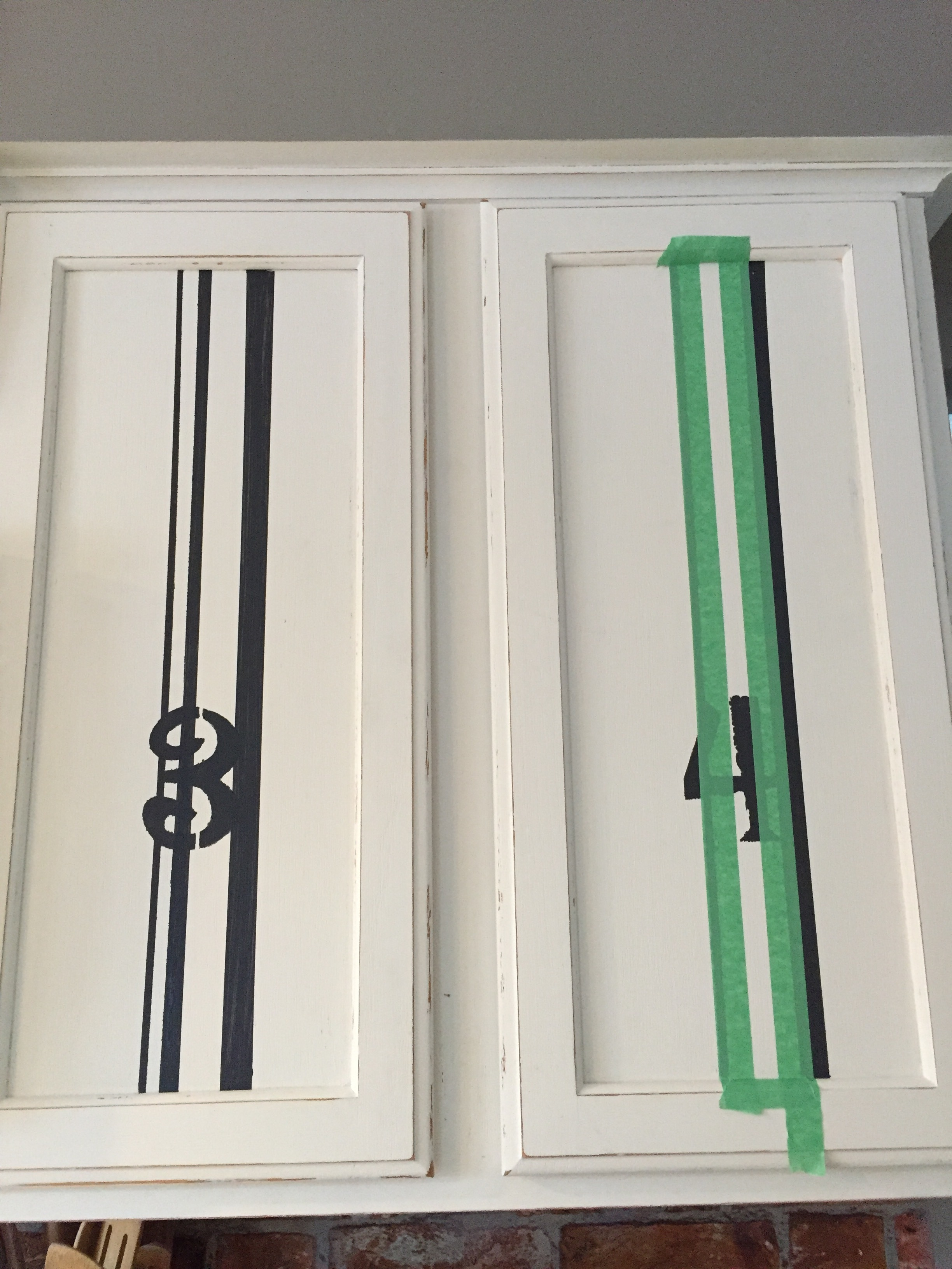 Adding grain sack stripes to cabinet door fronts
