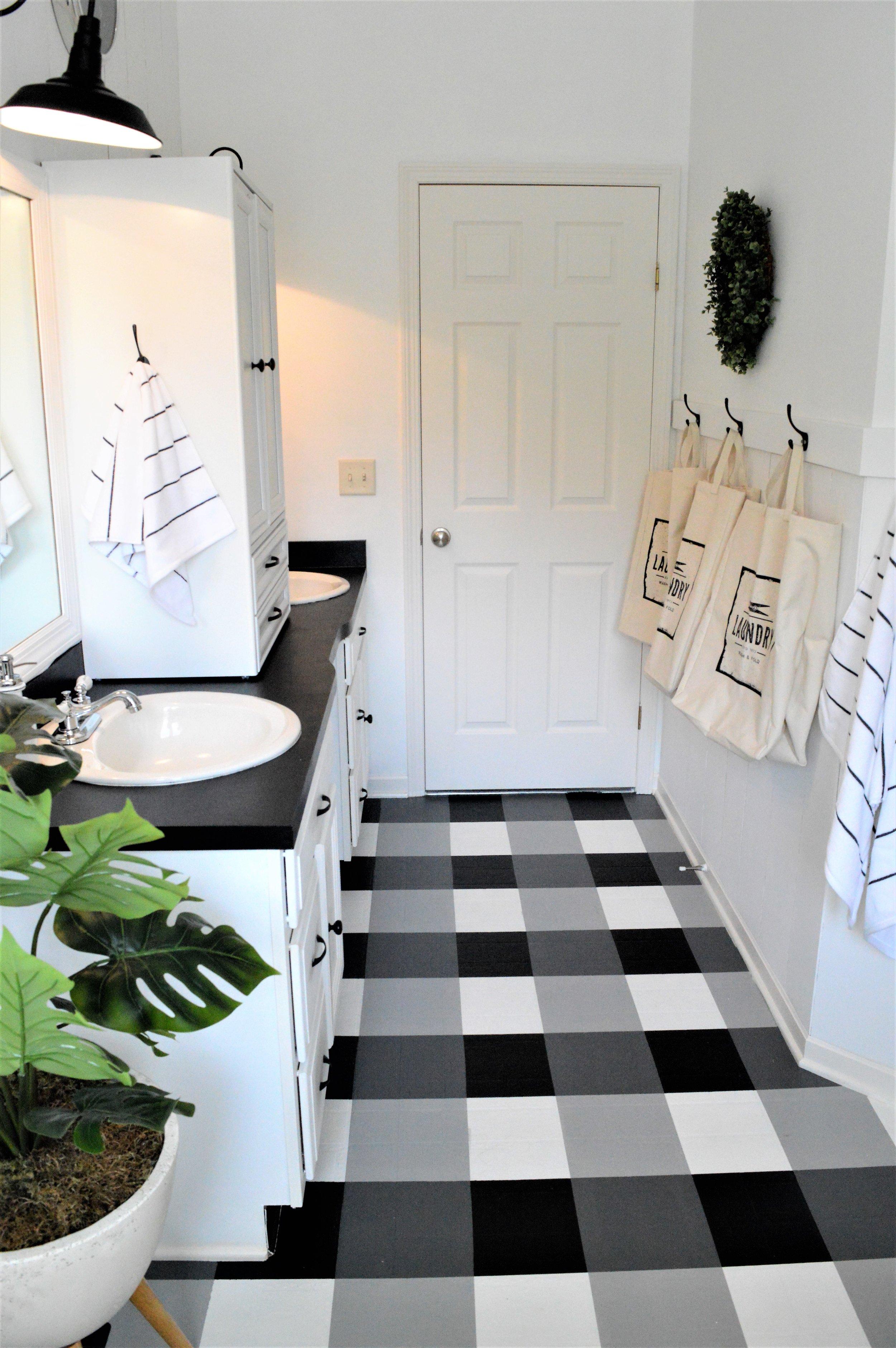 Buffalo Check Painted Floors DIY Tutorial