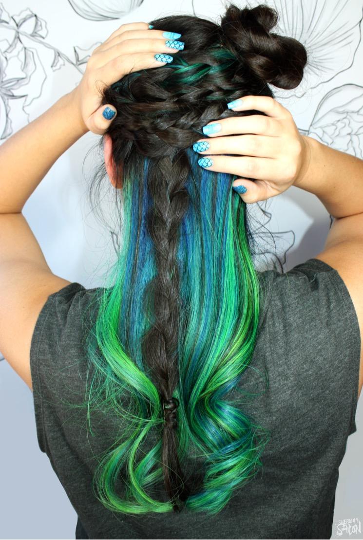 green and teal mermaid hair