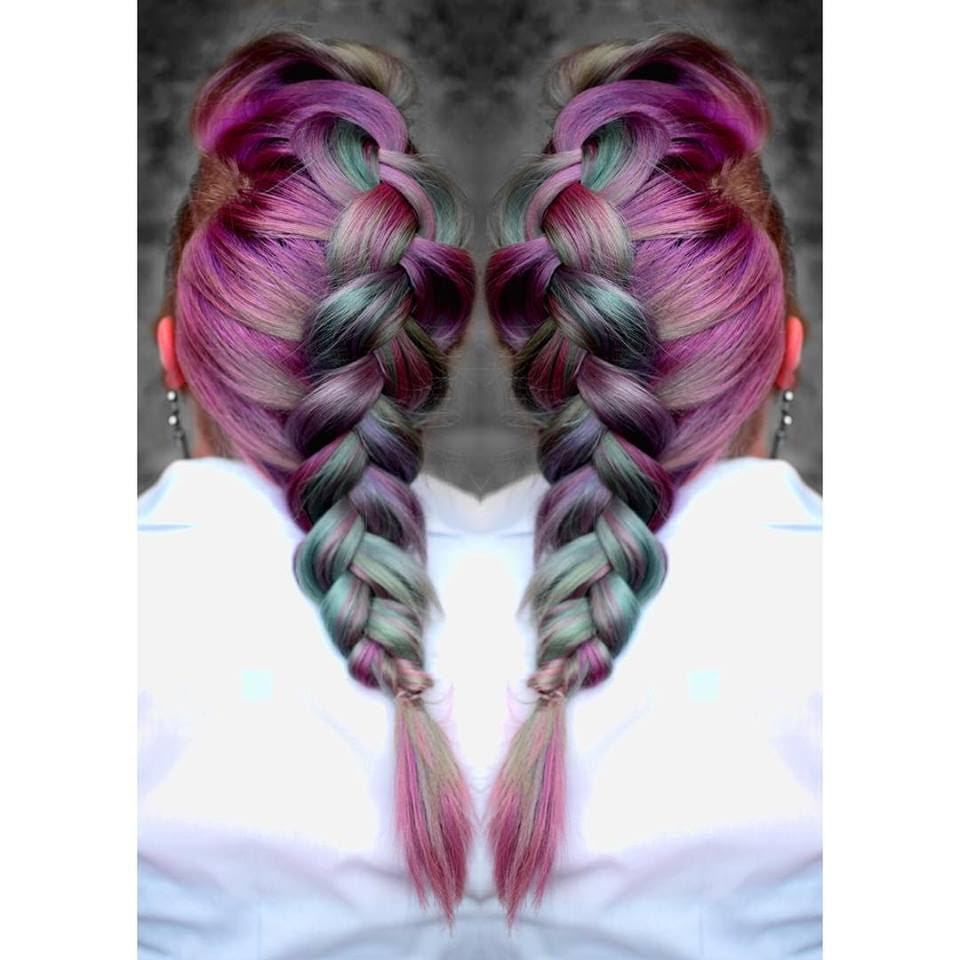 metallic purple mint hair braid