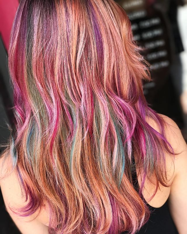 Balayage and jewel tones🤤😍 Used @joico #blondelife lightener to refresh my clients balayage. Followed after with ribbons of @joicointensity in flavors Magenta, Orchid, Mermaid Blue and Bronze 🔮 #jshermansalon #unicorntribe  #modernsalon #balayage #hairinspo #hairideas #joicointensity #cosmoprofbeauty #licensedtocreate