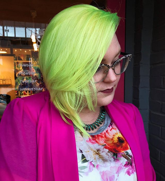 💥BAM💥 @ladyfawn is GLOWING!!! Used @pulpriothair Firefly!! #jshermansalon #unicorntribe #pulpriot #modernsalon #behindthechair #neonhair #atlhair #yellowhair