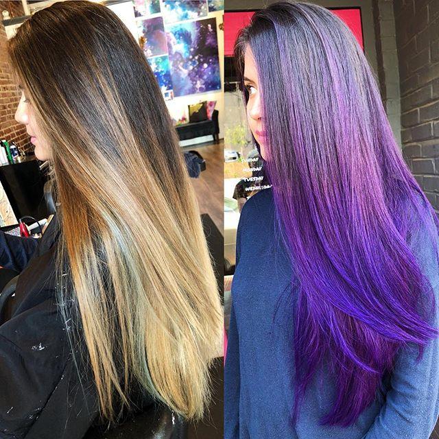 Painted twice ✌️ for this dimensional violet balayage💜 #jshermansalon #unicorntribe #modernsalon #balayage #atlhair #atlantahair #purplehair #violethair