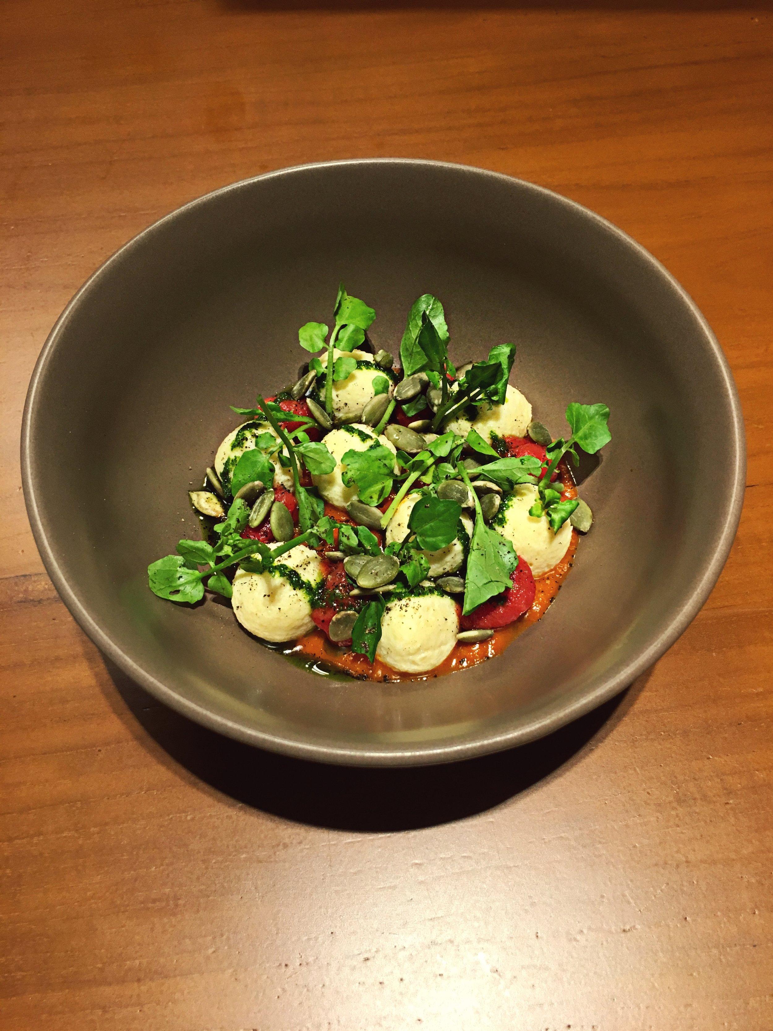Ricotta Gnocchi - ▽ Cheese dumplings▽ Roasted Watermelon▽ Sun-dried tomato pesto❤ Top 3 favorite dishes