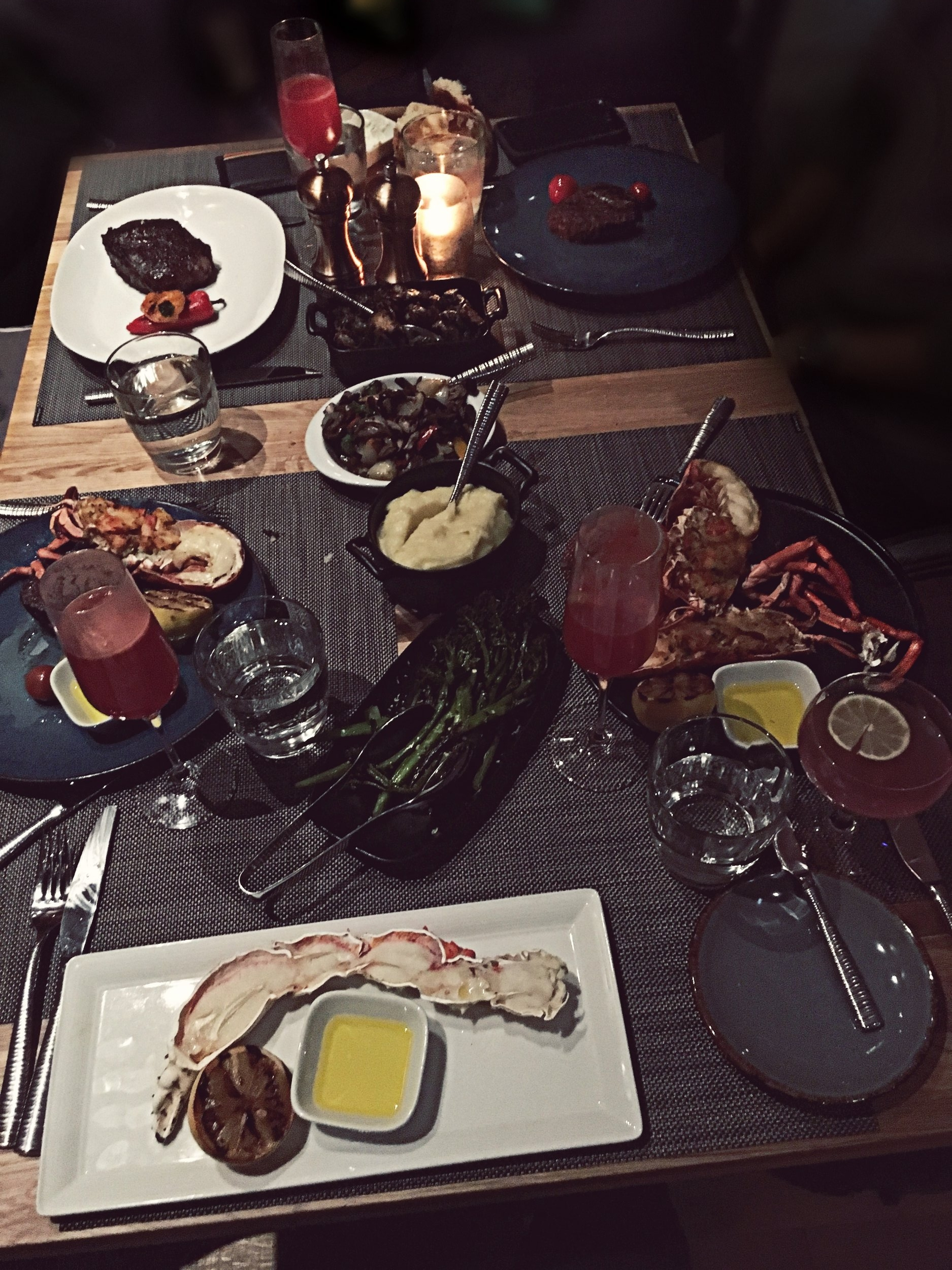 So f*cking good . . . - Our Dinner :⤚ Salmon & Chu Toro Tuna Sashimi (not shown in photo)⤚ Bone in Striploin⤚ Filet Minion⤚ Baked & stuffed Lobster⤚ King Crab⤚ Charred Broccolini⤚ Roasted Mushrooms⤚ Mashed Potatoes⤚ Port Royal & French Smash Cocktails (SO effing good)▽ FYI, I didn't eat any of the steak, as I don't eat meat (many of you already knew that). ♡ My family really enjoyed it though ☺