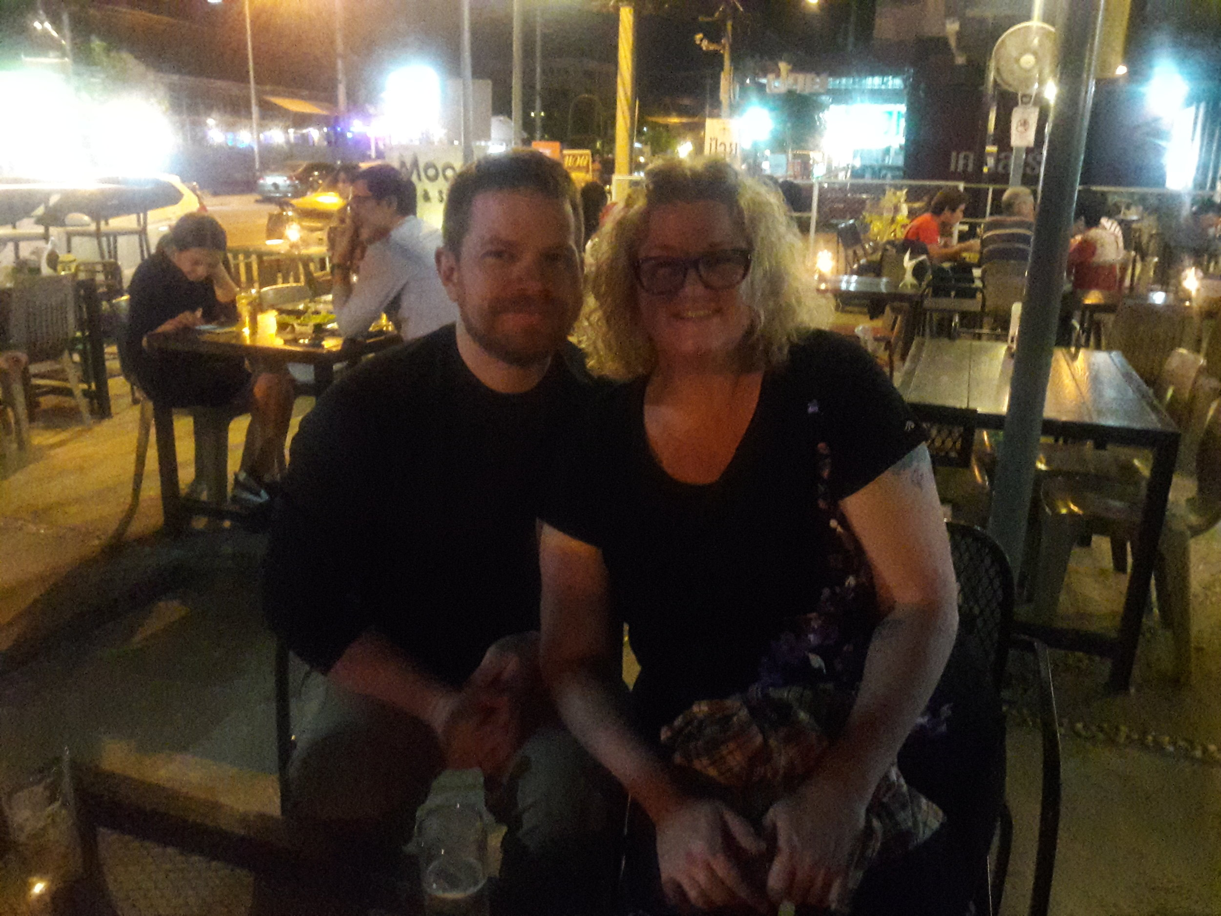 Tracy and her husband, Bryan, enjoying dinner in Mae Sot.