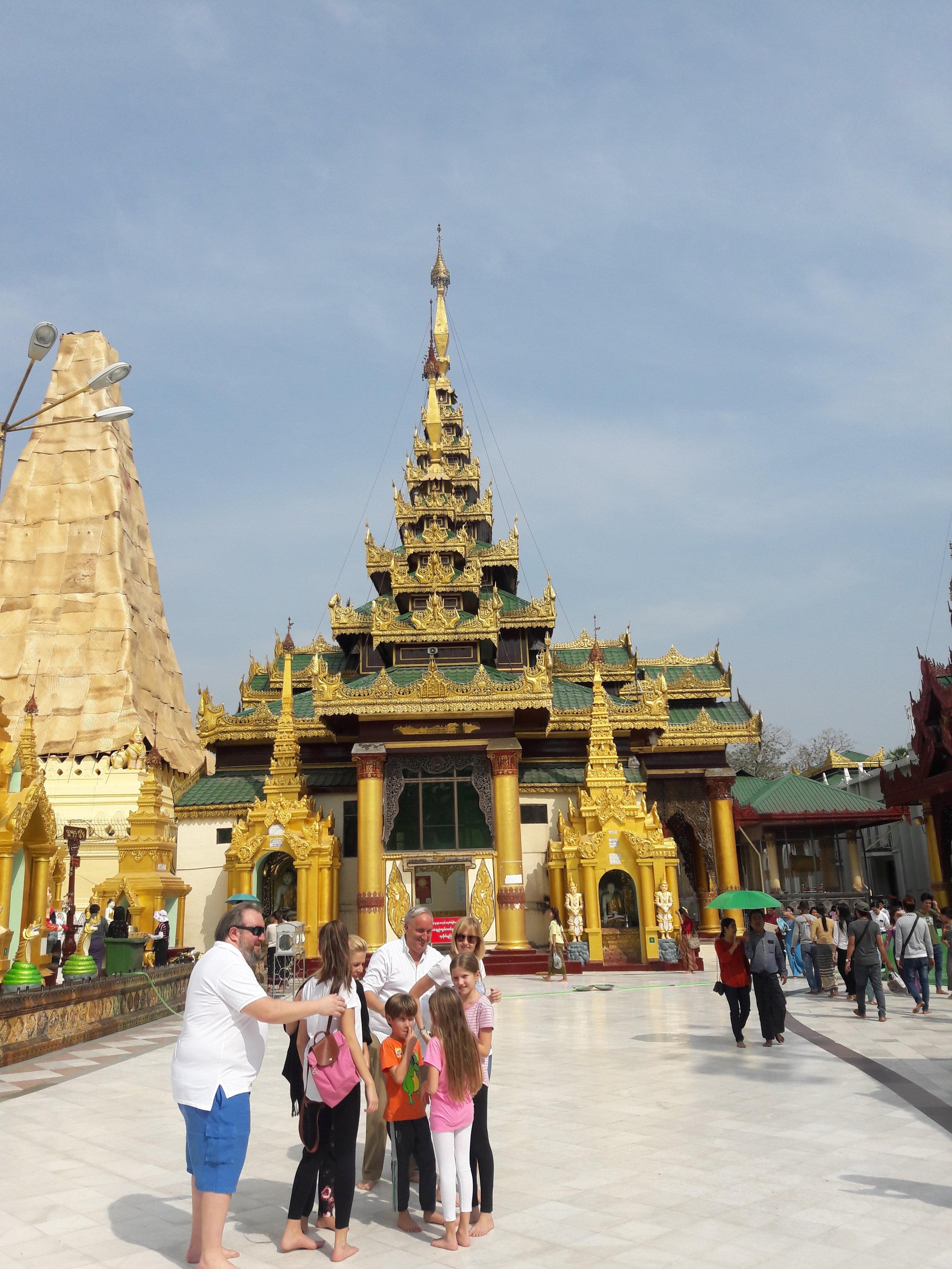 Outside view of the Shwedagon Pagoda in Burma.