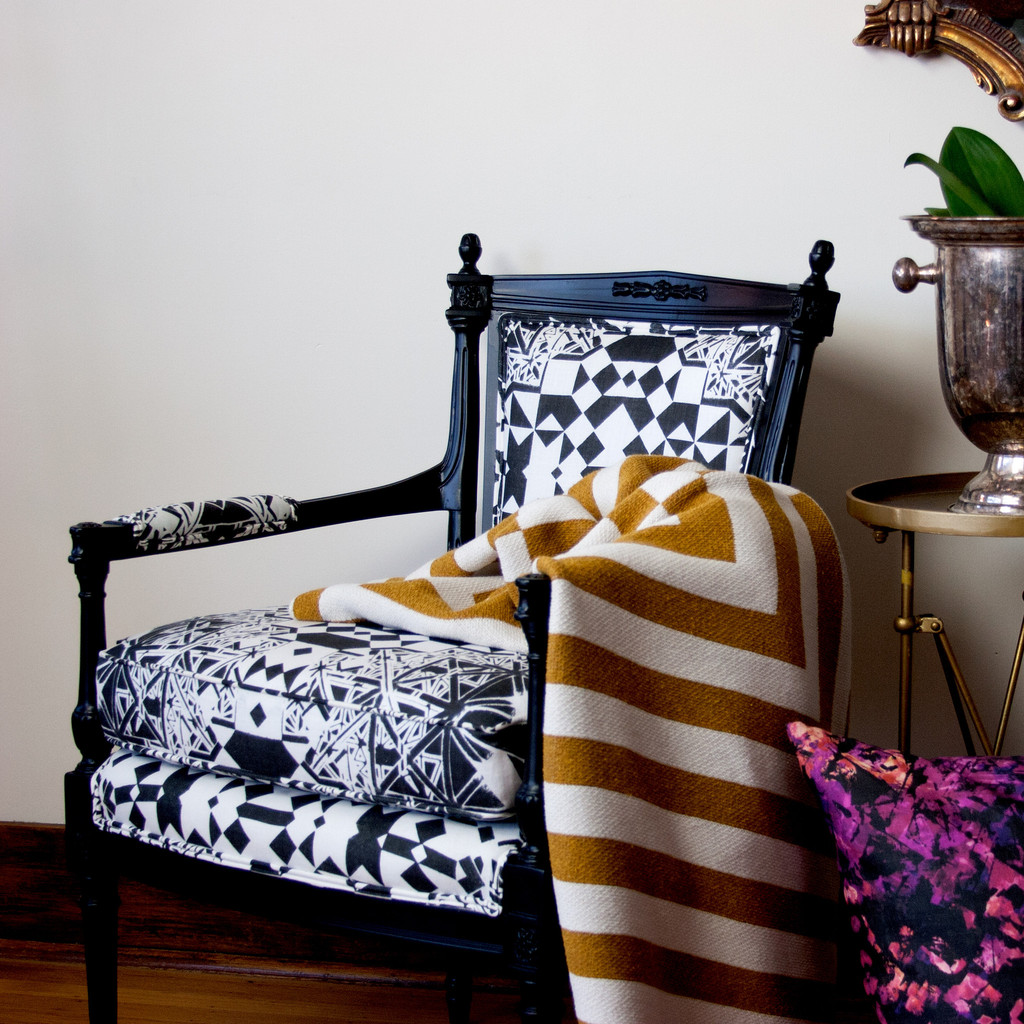 Aquino Cotton Throw Blanket on Dubrovnik upholstered chair