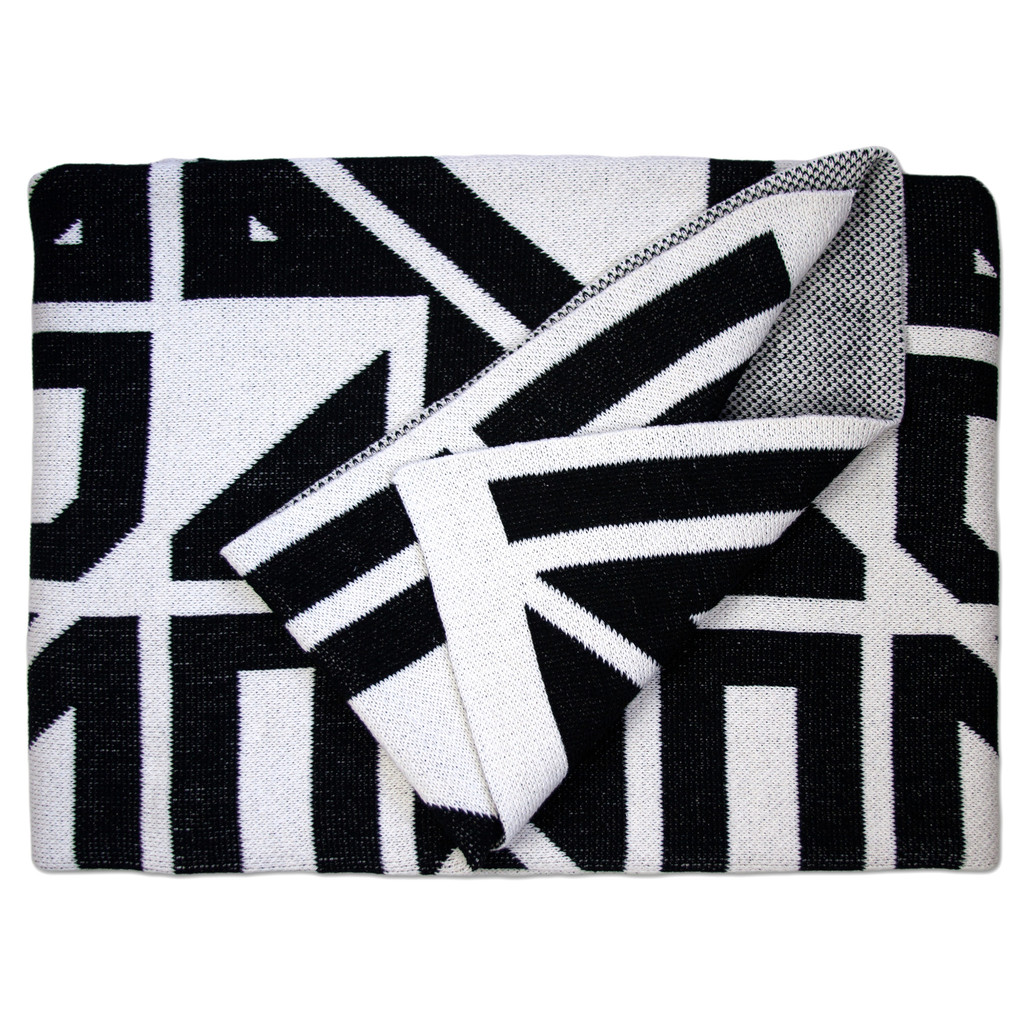 Milas Black Cotton Throw Blanket